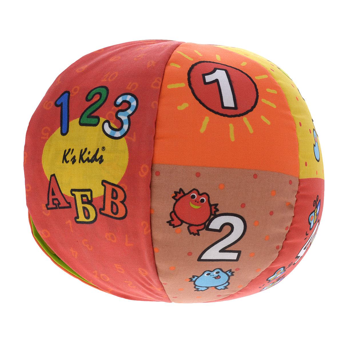 Обучающая игрушка Ks Kids Говорящий мячKA621Обучающая игрушка Ks Kids Говорящий мяч отлично подойдет для подвижных игр малышей, а также поможет детям получить необходимые знания в приятной и интересной игре. Мяч диаметром двадцать два сантиметра изготовлен из мягкого текстильного материала ярких цветов и оформлен буквами русского алфавита, цифрами и всевозможными картинками. Мячом можно перекидываться, его можно перекатывать по полу и просто играть в футбол. Игрушка работает в двух режимах: буквенном и цифровом. В первом режиме при каждом броске можно услышать буквы от А до Я, во втором же мяч считает до десяти. Каждая цифра проиллюстрована таким же числом определенных фигур, например, возле цифры один нарисовано одно солнце. Мяч в общей сложности издает двадцать пять звуков, в том числе песенки и разные фразы. Если игрушка загрязнилась, ее можно постирать, при этом вытащив электроприбор. Игрушка Ks Kids Говорящий мяч способствует совершенствованию тактильной чувствительности, ловкости,...