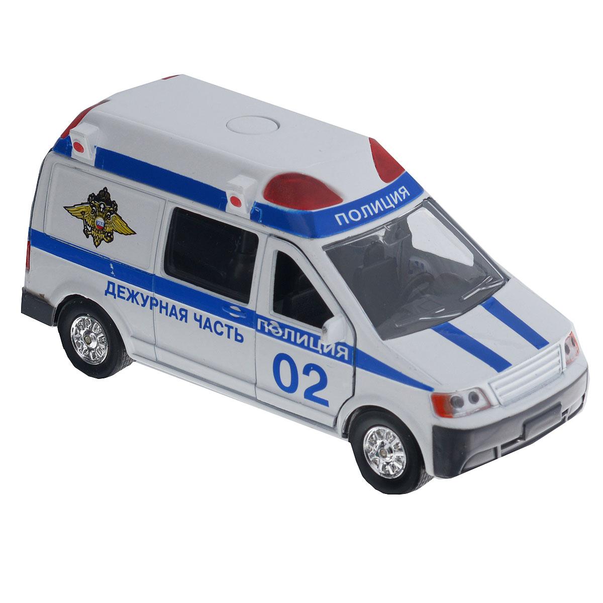 ТехноПарк Машинка инерционная Микроавтобус ПолицияCT-1167(SL1106C)Машинка ТехноПарк Микроавтобус: Милиция/Полиция, выполненная из безопасного пластика в виде полицейской машины, станет любимой игрушкой вашего малыша. У полицейского микроавтобуса открываются двери кабины и фургона. При нажатии кнопки, расположенной на крыше, начинают светиться мигалки под голос инспектора, сообщающего о необходимости снижения скорости. Игрушка оснащена инерционным ходом. Машинку необходимо отвести назад, затем отпустить - и она быстро поедет вперед. Прорезиненные колеса обеспечивают надежное сцепление с любой поверхностью пола. Ваш ребенок будет часами играть с этой машинкой, придумывая различные истории. Порадуйте его таким замечательным подарком! Игрушка работает от батареек (товар комплектуется демонстрационными).