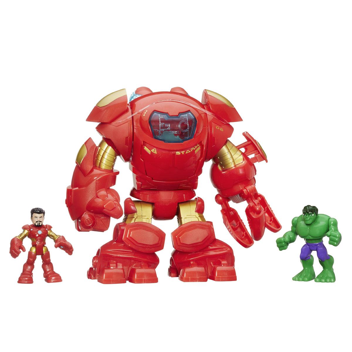 Набор фигурок Super Hero Adventures: Star Tech Armour, 3 штB0138EU40Набор фигурок Super Hero Adventures: Star Tech Armour состоит из маленьких фигурок Железного Человека и Халка и большой фигурки Охотника на Халка. Фигурки выполнены из яркого пластика. Конечности фигурок подвижны, что позволит придавать героям различные позы. В кисть левой руки Охотника можно вложить фигурку Халка. При нажатии кнопки на этой руке кисть начнет быстро вращаться. Эти фигурки непременно понравятся маленькому поклоннику комиксов и станут замечательным украшением любой коллекции. Рекомендуемый возраст: от 3 до 7 лет.