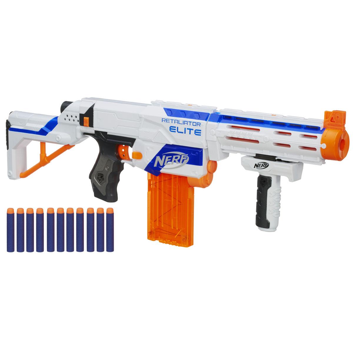 Nerf Бластер Retaliator, с патронами, цвет: белый, 4 в 198696E35Бластер Nerf Retaliator позволит вашему ребенку почувствовать себя во всеоружии! Бластер выполнен из безопасного пластика и снабжен съемными прикладом и стволом, обоймой и крепежной ручкой - таким образом, его можно трансформировать в 4 различных типа оружия. Комплект включает в себя элементы для сборки бластера и 12 патронов, выполненных из гибкого вспененного полимера. Бластер стреляет на расстояние до 20 метров. Такая игрушка не только порадует малыша, но и поможет ему совершенствовать мелкую и крупную моторику, а также координацию движений. Ребенок сможет соревноваться с друзьями в меткости и скорости стрельбы, или устроить настоящее космическое сражение!