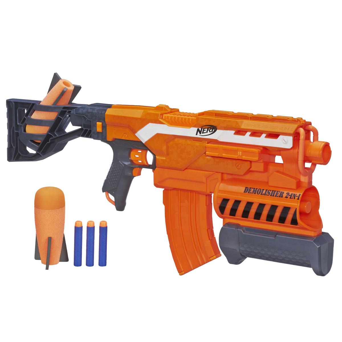 Nerf Бластер N-Strike Elite: Demolisher, 2в1, с патронами, цвет: оранжевыйA8494EU4Бластер Nerf N-Strike Elite: Demolisher позволит вашему ребенку почувствовать себя во всеоружии! Он выполнен из яркого безопасного пластика и снабжен подствольным гранатометом и обоймой на 10 патронов для суперскоростной стрельбы. Комплект включает в себя 10 патронов и 2 гранаты, выполненные из гибкого вспененного полимера. Стреляет на расстояние свыше 22 метров. Гранаты вылетают на расстояние до 16 метров! Игра с таким бластером поможет ребенку в развитии меткости, ловкости, координации движений и сноровки. Необходимо докупить 4 батарейки напряжением 1,5V типа АА (не входят в комплект).