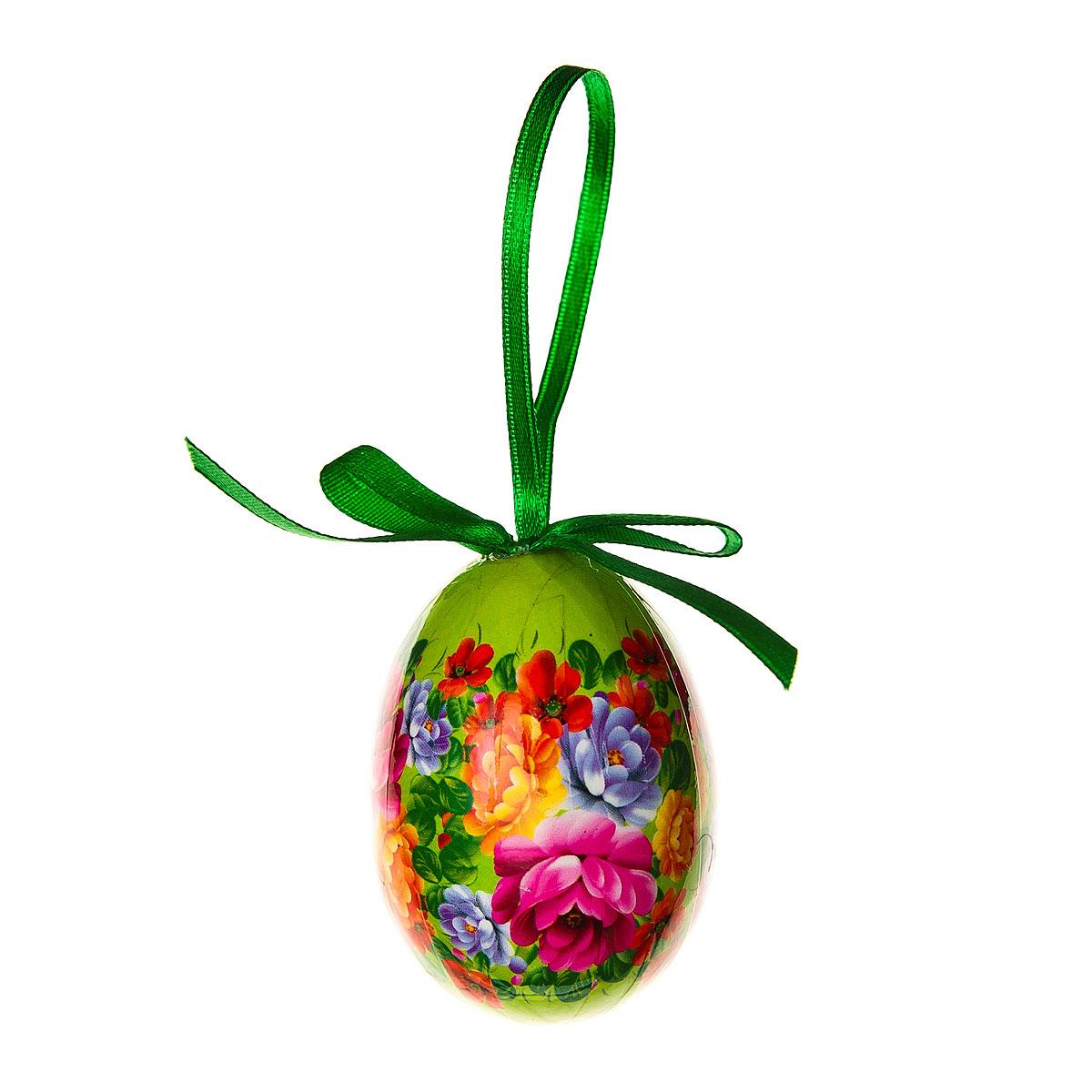 Декоративное подвесное украшение Home Queen Народное искусство, цвет: зеленый68284_2Подвесное украшение Home Queen Народное искусство, выполненное в форме яйца, изготовлено из пластика и декорировано цветочным орнаментом. Изделие оснащено петелькой для подвешивания. Такое украшение прекрасно оформит интерьер дома или станет замечательным подарком для друзей и близких на Пасху. Размер яйца: 4 см х 4 см х 6 см.