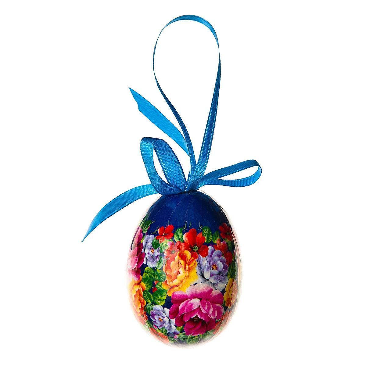 Декоративное подвесное украшение Home Queen Народное искусство, цвет: синий68284_3Подвесное украшение Home Queen Народное искусство, выполненное в форме яйца, изготовлено из пластика и декорировано цветочным орнаментом. Изделие оснащено петелькой для подвешивания. Такое украшение прекрасно оформит интерьер дома или станет замечательным подарком для друзей и близких на Пасху.