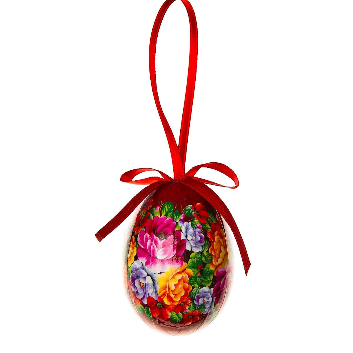 Декоративное подвесное украшение Home Queen Народное искусство, цвет: красный68284_1Подвесное украшение Home Queen Народное искусство, выполненное в форме яйца, изготовлено из пластика и декорировано цветочным орнаментом. Изделие оснащено петелькой для подвешивания. Такое украшение прекрасно оформит интерьер дома или станет замечательным подарком для друзей и близких на Пасху. Размер яйца: 4 см х 4 см х 6 см.