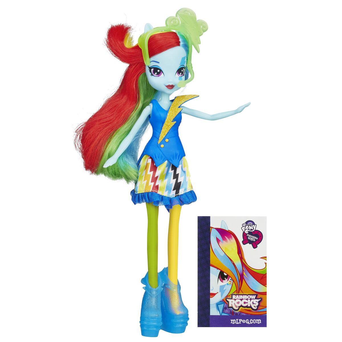 My Little Pony Кукла Rainbow Rocks Рейнбоу Дэш с рыжими волосамиB0458_A3994_SolidКуклы пони-девочки из мультфильма Equestria Girl (Девочки из Эквестрии) - это удивительные и очаровательные куклы, которых так давно ждали ценители маленьких пони. В серии Rainbow Rocks все куклы - звезды рок-группы, они очень стильно одеты и шикарно выглядят. Каждая кукла - яркая индивидуальность! Кукла My Little Pony Rainbow Rocks: Рейнбоу Дэш в точности повторяет внешний вид героини из мультфильма. Кукла выполнена в виде девочки-пони Рейнбоу Дэш. Ее эффектный образ создан специально для выступления на рок-концерте. Длинные волосы Рэйнбоу окрашены во все цвета радуги. Куколка одета в синее платье с пышной юбкой, оформленное блестками, на ногах у нее - прозрачные полусапожки, а голова украшена тиарой с микрофоном и наушниками. Голова, руки и ноги куклы подвижны, благодаря чему ей можно придавать различные позы. Игры с куклой способствуют эмоциональному развитию ребенка, а также помогают формировать воображение и художественный вкус. Малышка проведет...