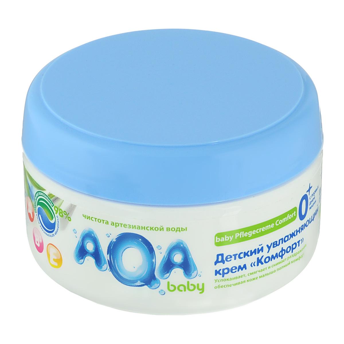 AQA baby Детский увлажняющий крем «Комфорт»2012102Успокаивает, смягчает и снимает раздражение, обеспечивая коже малыша полный комфорт. С натуральным маслом подсолнечника и витаминами А,Е. и В5 98% натуральных компонентов. Применение крема доставляет истинное наслаждение и комфортное ощущение нежной коже: комбинация натурального масла подсолнечника и витаминов А, Е и В5 обеспечивает уход за чувствительной кожей ребенка, успокаивает, смягчает и снимает раздражение. Отсутствие в креме аллергенов и красителей позволяет использовать его для чувствительной кожи ребенка с самого раннего возраста.