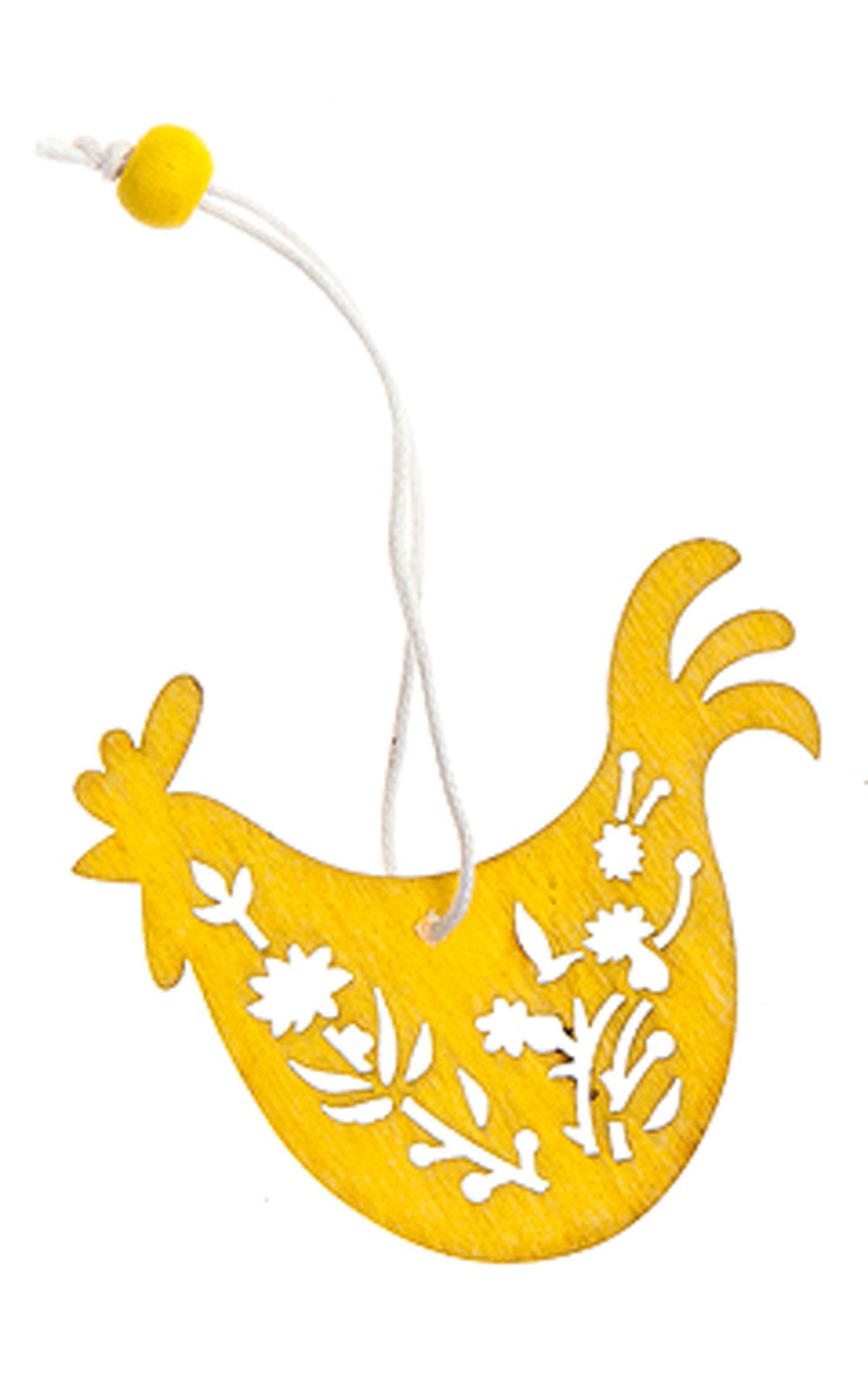 Декоративное подвесное украшение Home Queen Узорный орнамент, цвет: желтый66811_2Подвесное украшение Home Queen Узорный орнамент, выполненное в виде курицы, изготовлено из дерева и декорировано рельефным цветочным рисунком. Изделие оснащено петелькой для подвешивания. Такое украшение прекрасно оформит интерьер дома или станет замечательным подарком для друзей и близких на Пасху. Размер: 4,5 см х 6 см х 0,2 см.