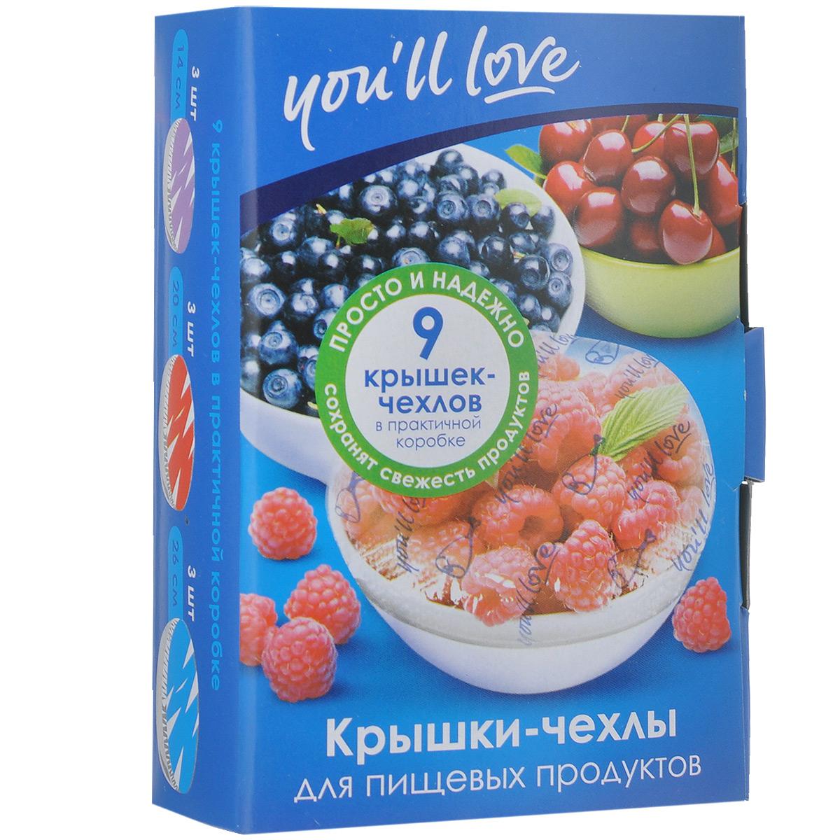 Крышки-чехлы для пищевых продуктов Youll love, 9 шт59Крышки-чехлы для пищевых продуктов Youll love, изготовленные из полиэтилена, предназначены для сохранения свежести продуктов, напитков в открытых емкостях. С их помощью вы сможете хранить тарелки с салатом, открытые банки или кувшины с напитками, разрезанные арбузы и дыни. Резинка плотно закрепляет чехол на посуде и надолго сохраняет свежесть ваших продуктов на столе, на террасе или в холодильнике. В наборе - 9 крышек-чехлов. Можно использовать при разогреве продуктов в микроволновой печи.