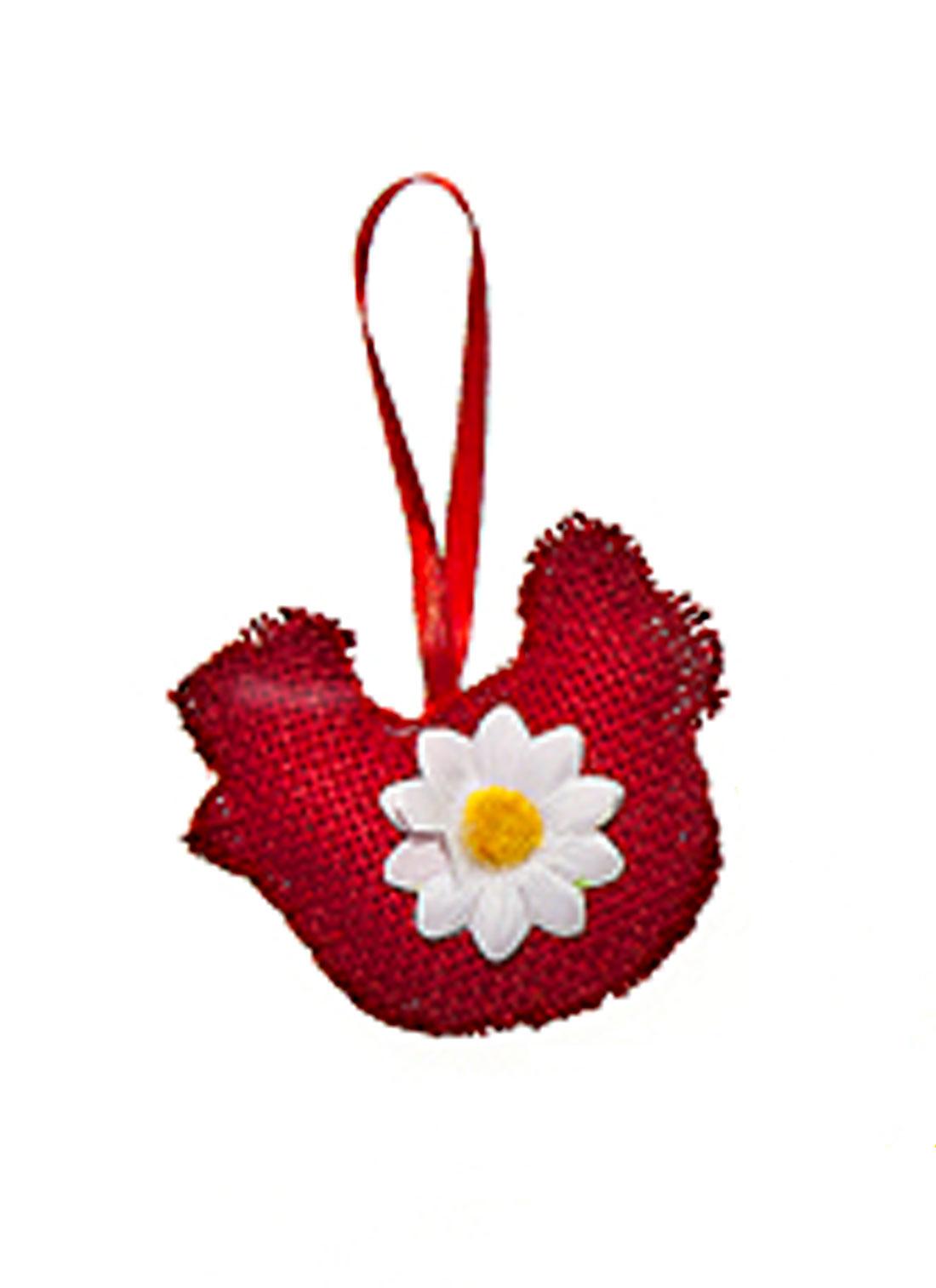 Декоративное подвесное украшение Home Queen Курочка, цвет: красный64428_1Подвесное украшение Home Queen Курочка, выполненное в виде курицы, изготовлено из полиэстера и декорировано текстильным цветком. Изделие оснащено петелькой для подвешивания. Такое украшение прекрасно оформит интерьер дома или станет замечательным подарком для друзей и близких на Пасху. Размер: 8,5 см х 9 см х 2 см.