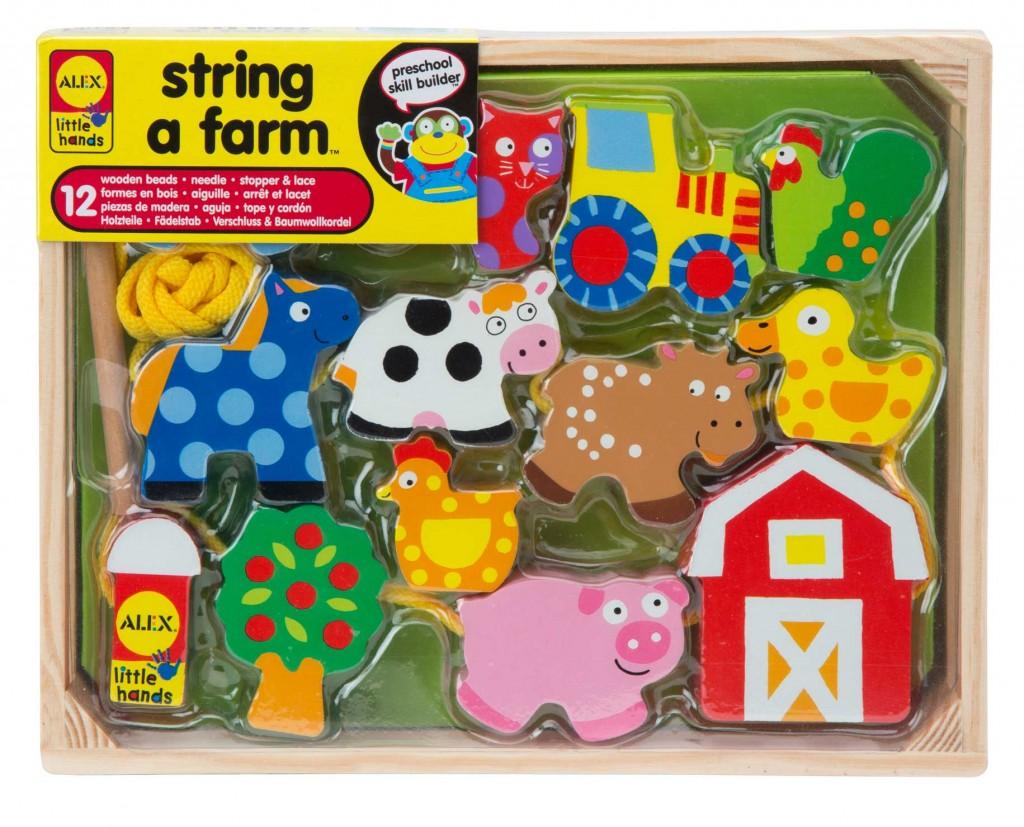 Игра-шнуровка Alex String a Farm1486FЯркая игра-шнуровка Alex String a Farm надолго займет внимание вашего ребенка и не позволит ему скучать. Цель игры - нанизать на шнурок красочные элементы, оформленные различными рисунками в виде животных, дерева, трактора и домика. Ребенку будет интересно каждый раз менять последовательность фигурок. К концу шнурка прикреплена удобная деревянная иголка, с помощью которой легко продеть шнурок в отверстие фигурки. В комплект входят шнурок и 12 фигурок. Элементы игры выполнены из натурального дерева, выкрашенного безопасными красками. Хранится игра в открытой деревянной коробке. Благодаря игре в шнуровку пальцы и кисти приобретают хорошую подвижность, гибкость, исчезает скованность движений. Выработка этих полезных навыков в обстановке игры является хорошей подготовкой к письму. Игра-шнуровка поможет малышу развить не только мелкую моторику, но и логическое мышление, глазомер, научит аккуратности и усидчивости.