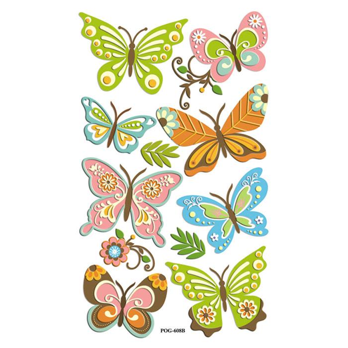 "Набор 3D наклеек ""Весенний. Бабочки с цветком"", 11 шт"