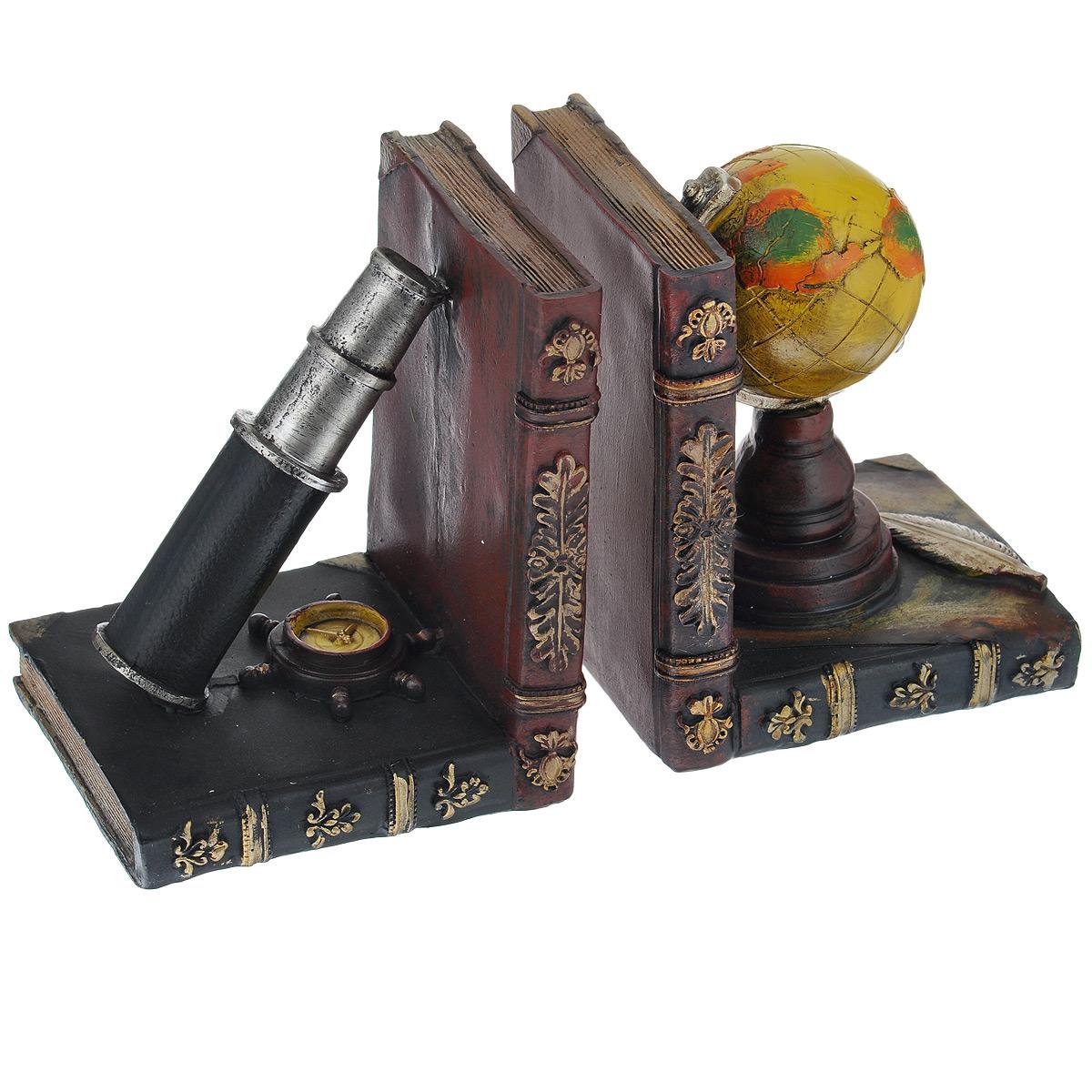 Подставка-ограничитель для книг Навигация, 2 шт36122Подставка-ограничитель для книг Навигация изготовлена из полирезины. В комплект входит два ограничителя. Изделия выполнены в виде глобуса и подзорной трубы, стоящие на постаменте из книг. Между ограничителями можно поместить неограниченное количество книг. Подставка-ограничитель для книг Навигация  - это не только подставка для книг, но и интересный элемент декора, который ярко дополнит интерьер помещения. Размер подставки-ограничителя: 12,5 см х 10,5 см х 15,5 см. Комплектация: 2 шт.