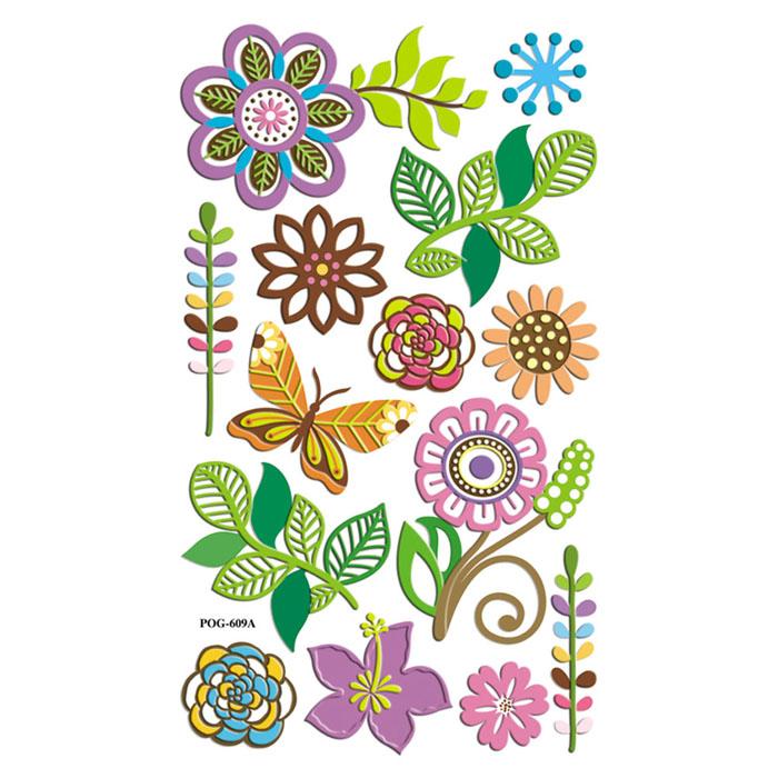 """Набор 3D наклеек """"Весенний. Цветы и бабочки"""", 14 шт"""