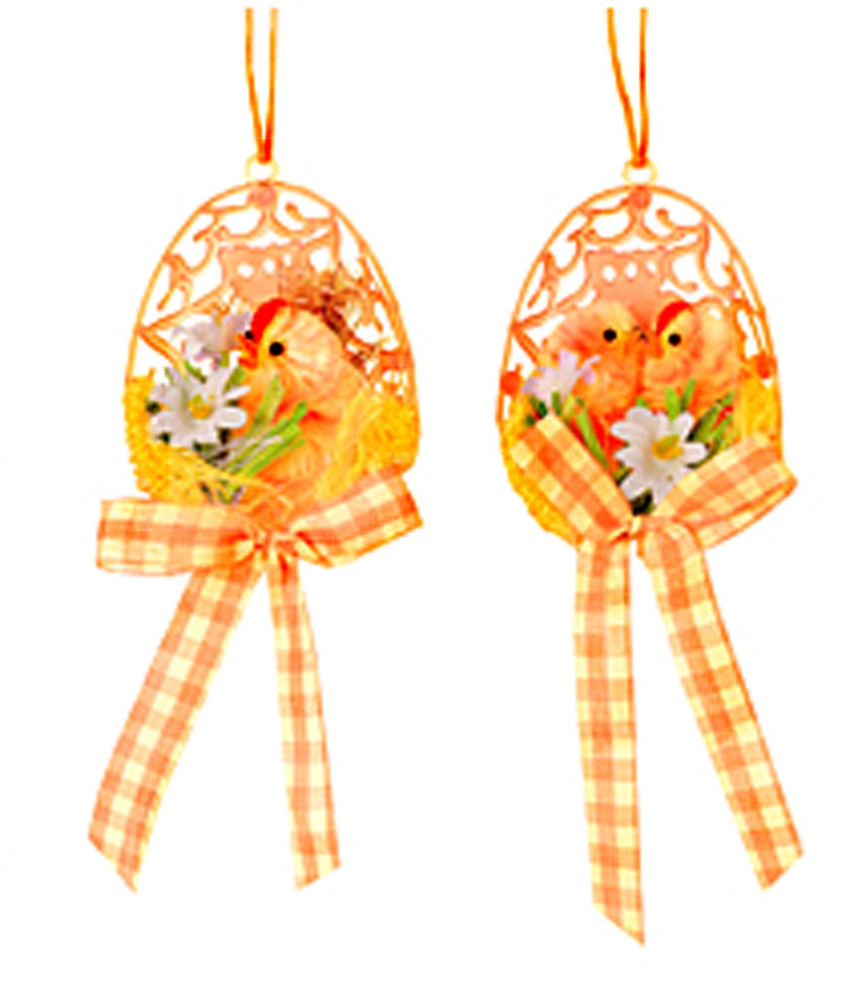 Набор декоративных подвесных украшений Цыпленок в скорлупе, 5 х 3 х 7 см, цвет: оранжевый, 2 шт64441_2Подвесное украшение Home Queen Цыпленок в скорлупе изготовлено из полиэстера и представляет собой композицию из половинки скорлупы, цыпленка, текстильных цветов, травы и банта. В наборе - 2 украшения. Такие украшения прекрасно оформят интерьер дома или станут замечательным подарком для друзей и близких на Пасху. Размер: 5 см х 3 см х 7 см.