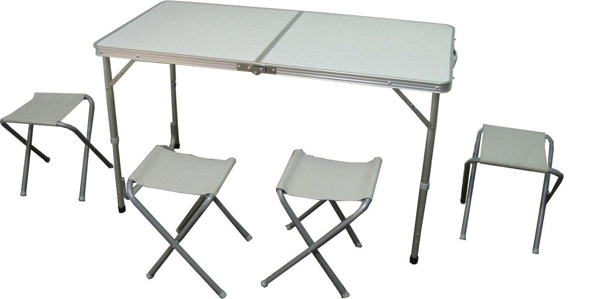 Набор Woodland Picnic Table Set, 5 предметов0036516Набор мебели Woodland Picnic Table Set предназначен для создания комфортных условий в туристических походах, охоте, рыбалке и кемпинге. Особенности: Компактная складная конструкция. Прочный алюминиевый каркас. Материал столешницы - МДФ. Удобная ручка для переноски. Сложенный стол можно использовать в качестве чемодана для переноски стульев. Размер стола: 120 см х 60 см х 70 см. Размер стульев: 33 см х 28 см х 36 см.
