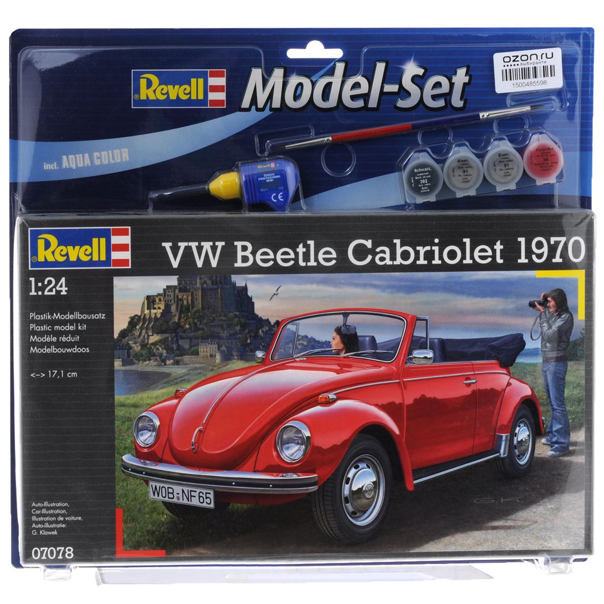 Набор для сборки и раскрашивания модели Revell Автомобиль VW Beetle Cabriolet 197067078Набор для сборки и раскрашивания модели Revell Автомобиль VW Beetle Cabriolet 1970 вы и ваш ребенок сможете собрать уменьшенную копию одноименного автомобиля. Набор включает в себя 122 пластиковых элемента для сборки модели, краски четырех цветов, двустороннюю кисточку, клей и схематичную инструкцию по сборке. Благодаря набору ваш ребенок научится различать цвета, творчески решать поставленные задачи, разовьет интеллектуальные и инструментальные способности, воображение, конструктивное мышление, внимание, терпение и кругозор. Уровень сложности: 3.