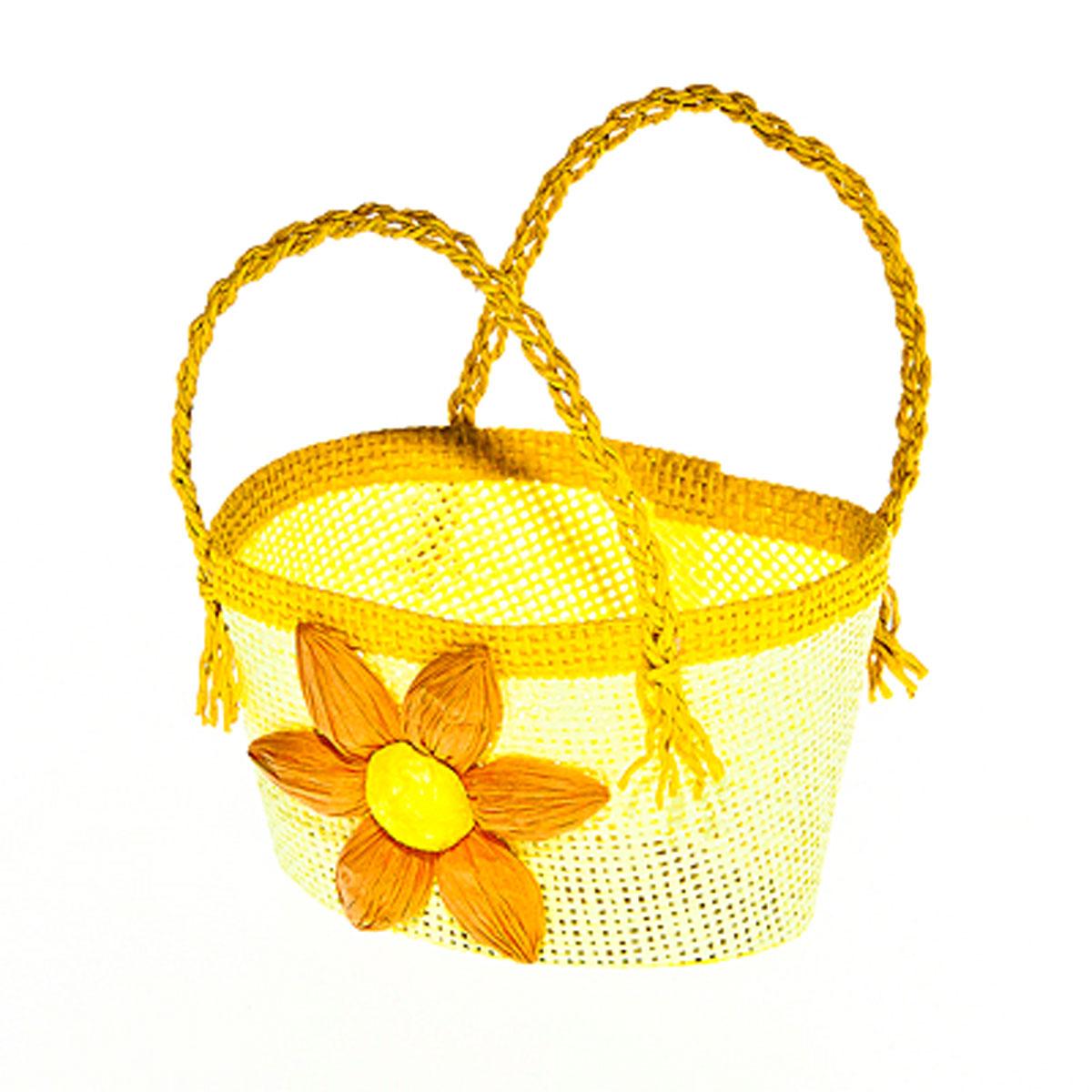 Корзина декоративная Home Queen Гербера, цвет: желтый, 14 х 10 х 7 см64321_3Корзина Home Queen Гербера, выполненная из бумаги, предназначена для хранения различных мелочей. Изделие декорировано ярким цветком и оснащено двумя плетеными ручками. Такая корзина станет ярким и необычным подарком или украшением интерьера на Пасху. Размер: 14 см х 10 см х 7 см. Высота ручек: 8 см.