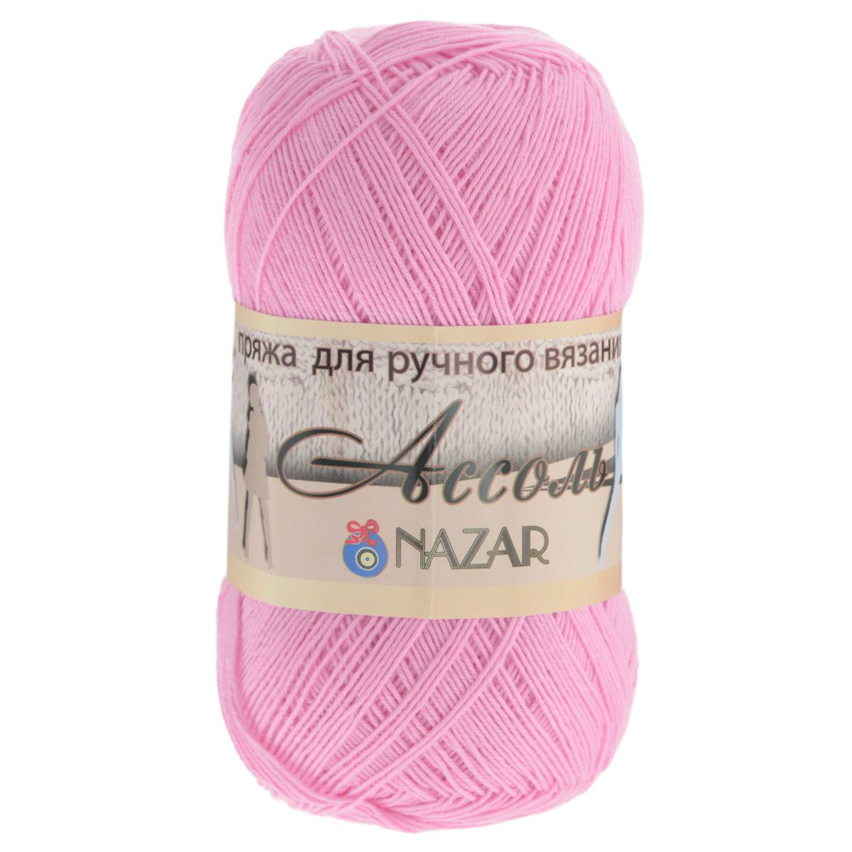 Пряжа для вязания Nazar Ассоль, цвет: розовый (1047), 500 м, 50 г, 10 шт349025_1047Пряжа для вязания Nazar Ассоль изготовлена из натурального хлопка. Пряжа из такого материала не имеет эффекта ваты. Позволяет вязать ажурные летние изделия спицами или крючком в 2 сложения или тёплые вещи в 4-5 сложений. Из этой пряжи хорошо смотрятся рельефные узоры. Не рекомендуется вязать кулирную гладь и ажуры на основе неё (в выбранных узорах должны присутствовать как лицевые, так и изнаночные петли). Рекомендованные спицы и крючок для вязания 2 мм. Комплектация: 10 мотков. Толщина нити: 2 мм. Состав: 100% хлопок.