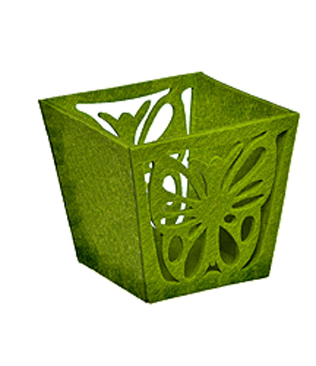 Корзина декоративная Home Queen Бабочка, цвет: зеленый, 14 х 13 х 12 см66833_1Декоративная корзина Home Queen Бабочка, выполненная из фетра, предназначена для хранения различных мелочей и аксессуаров. Изделие имеет красивую перфорацию в виде бабочки. Такая корзина станет оригинальным и необычным подарком или украшением интерьера. Размер корзины: 14 см х 13 см х 12 см. Размер дна: 10 см х 9,5 см.