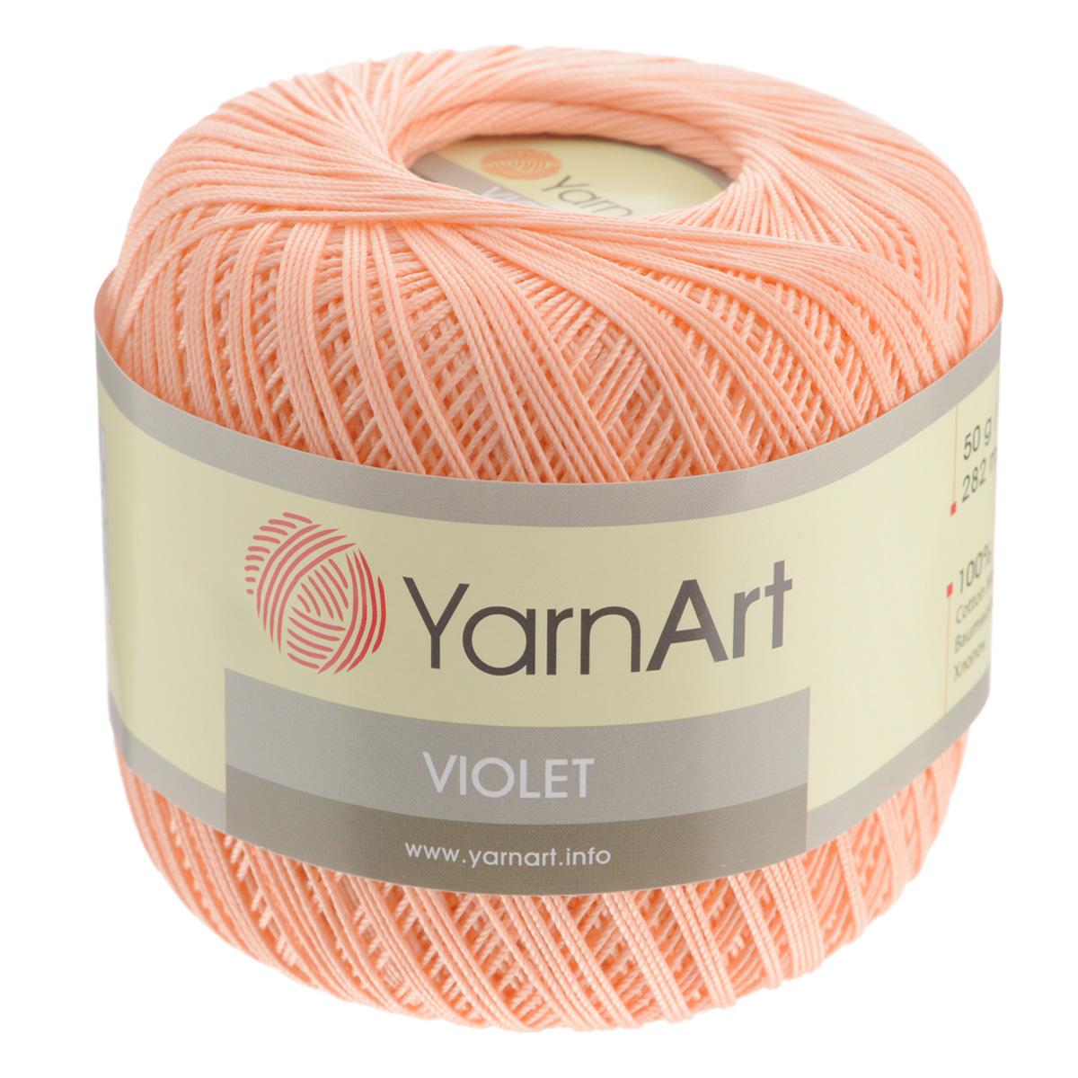 Пряжа для вязания YarnArt Violet, цвет: коралловый (6322), 282 м, 50 г, 6 шт пряжа для вязания yarnart baby color цвет белый черный 273 150 м 50 г 5 шт