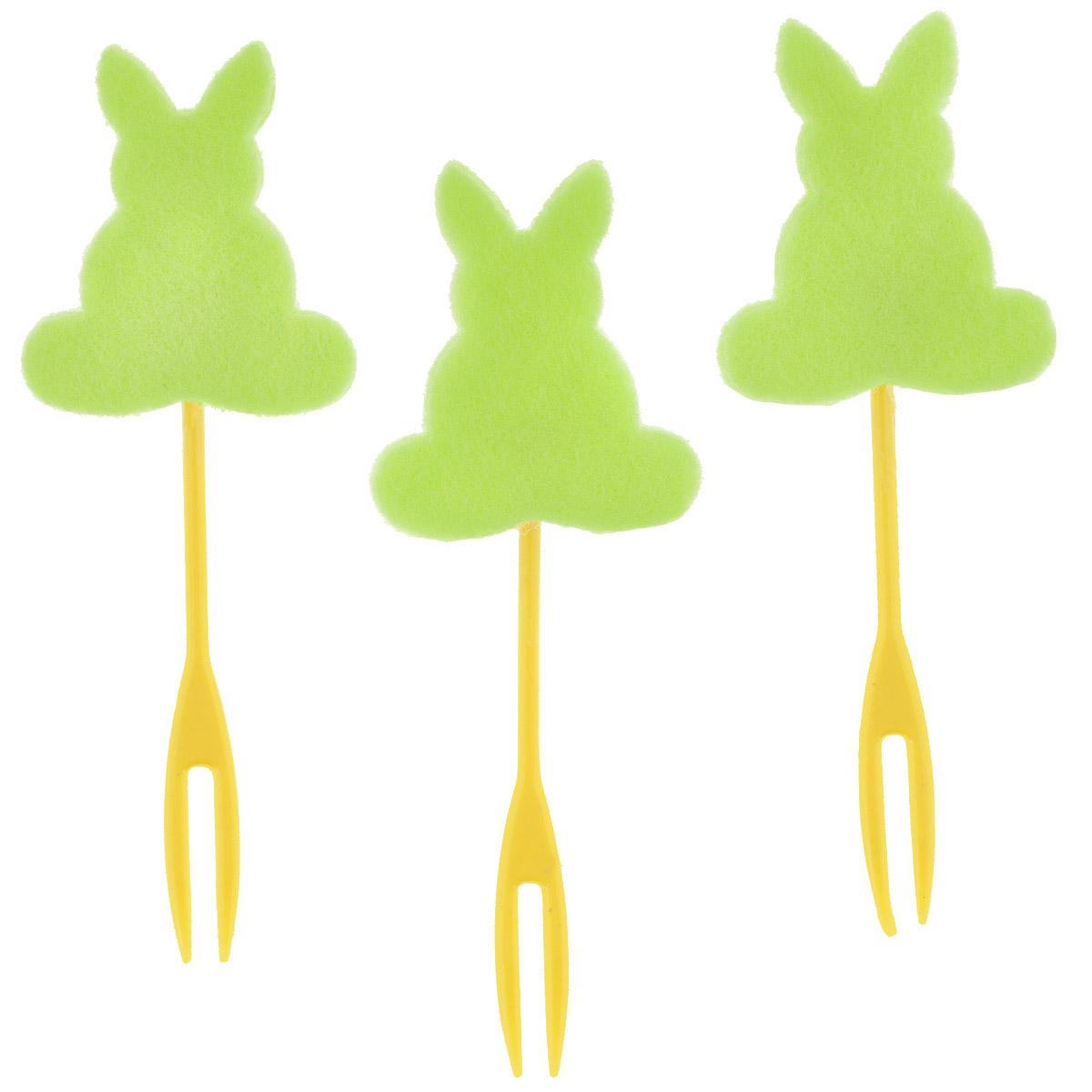 Набор декоративных вилочек Home Queen Кролик для украшения кулича, цвет: зеленый, длина 10 см, 3 шт60722_4Набор Home Queen Кролик, изготовленный из пластика и фетра, состоит из трех декоративных вилочек, предназначенных для украшения пасхального кулича. Изделия декорированы фигурками кроликов. Такой набор прекрасно дополнит оформление праздничного стола на Пасху. Размер фигурки: 4 см х 4 см.