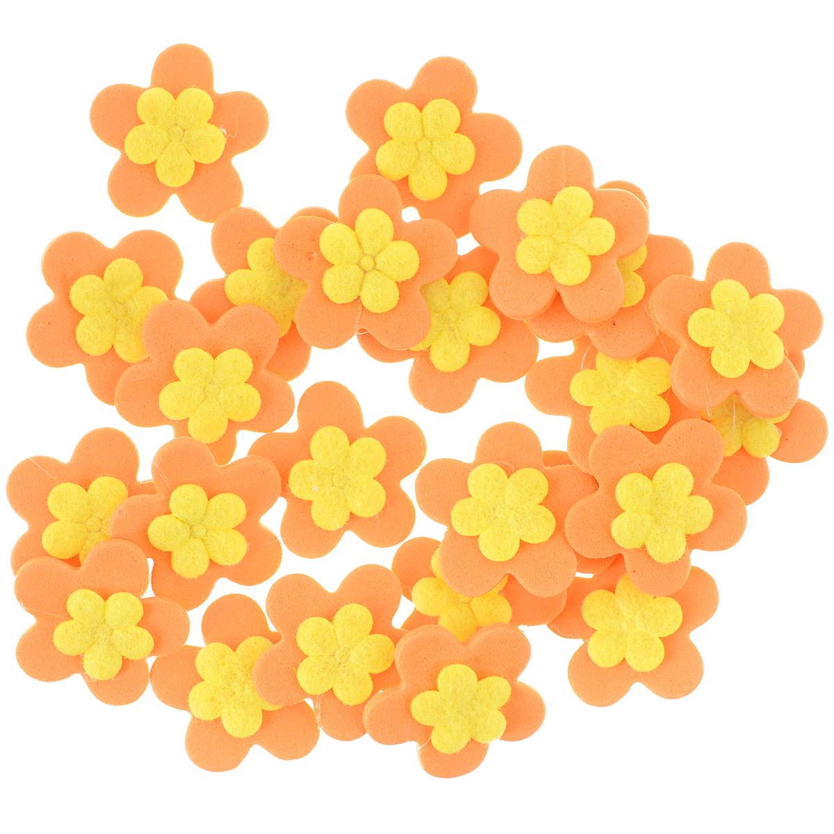 Набор декоративных украшений Home Queen Кувшинки, на клейкой основе, цвет: оранжевый, желтый, 24 шт58243_3Набор Home Queen Кувшинки состоит из 24 декоративных элементов и предназначен для украшения яиц, посуды, стекла, керамики, металла, цветочных горшков, ваз и других предметов интерьера. Украшения изготовлены из вспененной резины в виде цветов и фиксируются при помощи специальной клейкой основы. Такой набор украшений создаст атмосферу праздника в вашем доме. Размер фигурки: 2,3 см х 0,4 см х 2,3 см. Материал: вспененная резина.