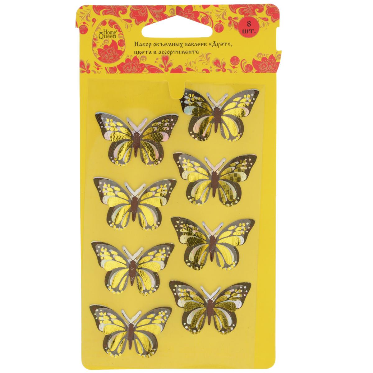 Набор объемных наклеек Home Queen Дуэт, цвет: черный, золотистый, 8 шт ahava набор duo deadsea mud набор дуэт