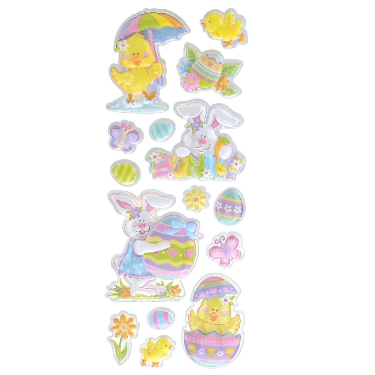 Набор объемных наклеек Home Queen Цыпленок под зонтом, 15 шт60882_5Набор объемных наклеек Home Queen Цыпленок под зонтом прекрасно подойдет для оформления творческих работ. Их можно использовать для скрапбукинга, украшения упаковок, подарков и конвертов, открыток, декорирования коллажей, фотографий, изделий ручной работы и предметов интерьера. Объемные наклейки выполнены из ПВХ. Задняя сторона клейкая. В наборе - 15 объемных наклеек, выполненных в виде пасхального кролика, цыпленка, яиц, бабочек и цветов. Такой набор украшений создаст атмосферу праздника в вашем доме. Комплектация: 15 шт. Средний размер наклейки: 5 см х 6 см.