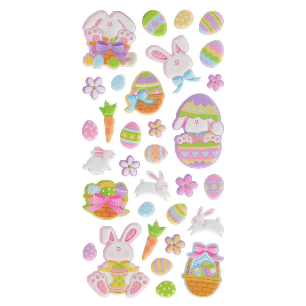 Набор объемных наклеек Home Queen Кролик в яйце, 32 шт60879_5Набор объемных наклеек Home Queen Кролик в яйце прекрасно подойдет для оформления творческих работ. Их можно использовать для скрапбукинга, украшения упаковок, подарков и конвертов, открыток, декорирования коллажей, фотографий, изделий ручной работы и предметов интерьера. Объемные наклейки выполнены из пластика. Задняя сторона клейкая. В наборе - 32 объемные наклейки, выполненные в виде пасхального кролика, яиц и цветов. Такой набор украшений создаст атмосферу праздника в вашем доме. Комплектация: 32 шт. Средний размер наклейки: 2,5 см х 2,5 см.