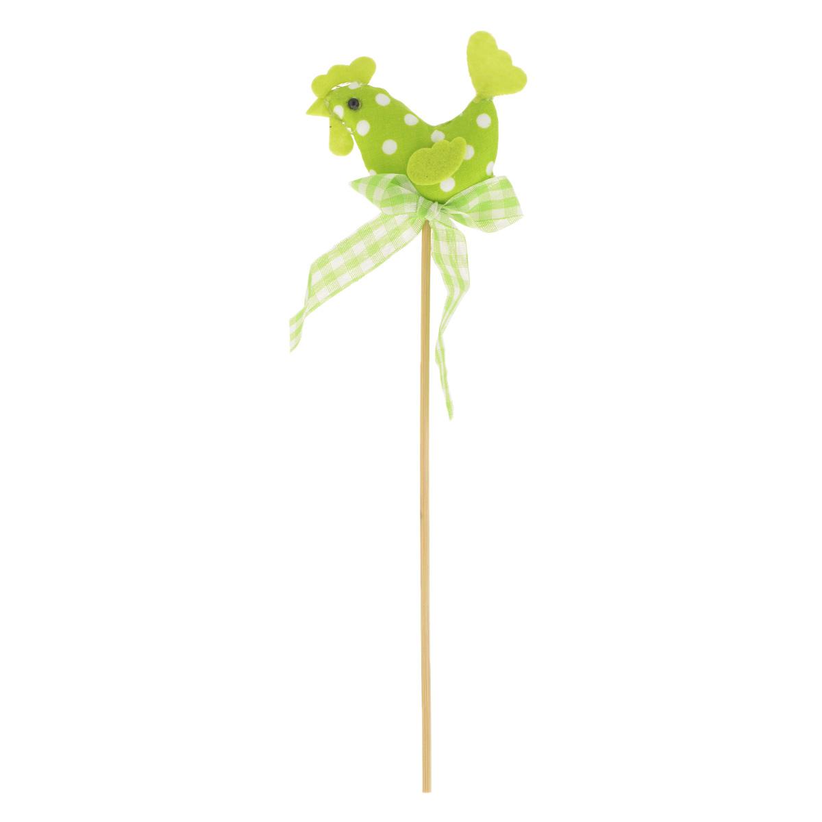 Декоративное пасхальное украшение на ножке Home Queen Петушок, цвет: зеленый, высота 25 см64392_4Украшение пасхальное Home Queen Петушок изготовлено из высококачественного полиэстера и предназначено для украшения праздничного стола. Украшение выполнено в виде петушка на деревянной шпажке и украшено текстильным бантом. Такое украшение прекрасно дополнит подарок для друзей и близких на Пасху. Высота: 25 см. Размер фигурки: 7,5 см х 1,5 см х 5,5 см.