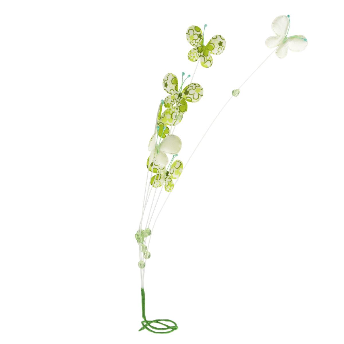 Декоративное украшение Home Queen Веточка с цветами, цвет в ассортименте, высота 55 см. 56379_356379_3Декоративное украшение Home Queen Веточка с цветами, изготовленное из пластика и полиэстера, поможет вам украсить дом, а также оформить подарки для ваших близких. Изделие представляет собой ветку с бусинами и листьями в виде бабочек, декорированных цветочным принтом. В основании ветки вставлена металлическая проволока, благодаря чему оно легко гнется. С помощью такого украшения вы сможете оживить интерьер по своему вкусу. Высота ветки: 55 см. Средний размер декоративных элементов (бабочек): 4,5 см х 3,5 см. Уважаемые клиенты! Обращаем ваше внимание на возможные изменения в цвете украшения, связанные с ассортиментом продукции. Поставка осуществляется в зависимости от наличия на складе.
