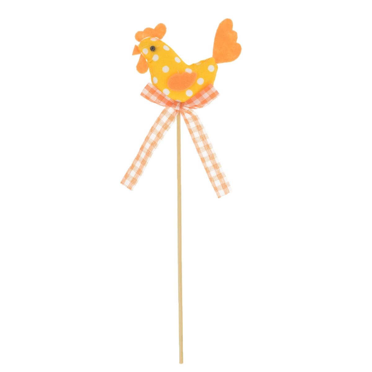 Декоративное пасхальное украшение на ножке Home Queen Петушок, цвет: оранжевый, высота 25 см64392_1Украшение пасхальное Home Queen Петушок изготовлено из высококачественного полиэстера и предназначено для украшения праздничного стола. Украшение выполнено в виде петушка на деревянной шпажке и украшено текстильным бантом. Такое украшение прекрасно дополнит подарок для друзей и близких на Пасху. Высота: 25 см. Размер фигурки: 7,5 см х 1,5 см х 5,5 см.