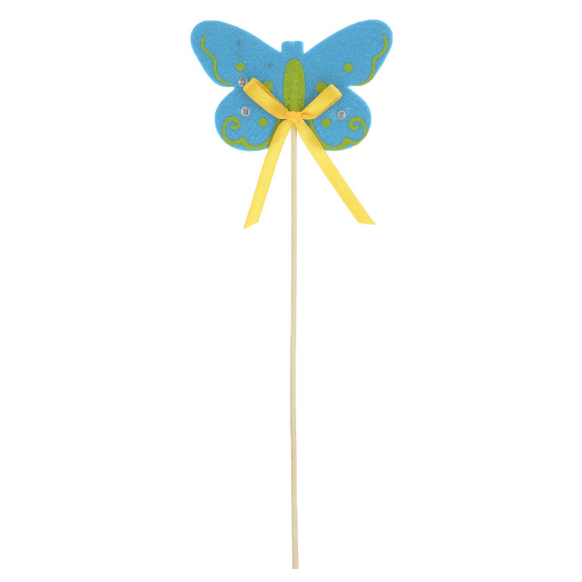 Декоративное пасхальное украшение на ножке Home Queen Весна. Бабочка, высота 27 см60727_2Украшение пасхальное Home Queen Весна. Бабочка изготовлено из цветного фетра и предназначено для украшения праздничного стола. Украшение выполнено в виде бабочки на деревянной шпажке и украшено текстильным бантом и стразами. Такое украшение прекрасно дополнит подарок для друзей и близких на Пасху. Высота: 27 см. Размер фигурки: 9 см х 0,5 см х 6 см.
