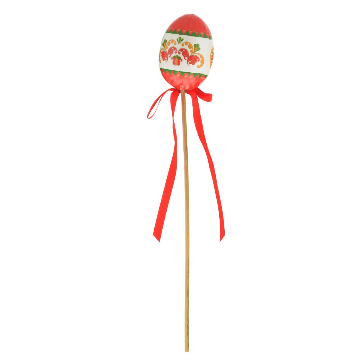 Декоративное пасхальное украшение на ножке Home Queen Народные промыслы, цвет: красный, высота 26 см66754_2Украшение пасхальное Home Queen Народные промыслы изготовлено из высококачественного пластика и предназначено для украшения праздничного стола. Украшение выполнено в виде яйца на деревянной шпажке и украшено текстильным бантом. Такое украшение прекрасно дополнит подарок для друзей и близких на Пасху. Высота: 26 см. Размер фигурки: 4 см х 4 см х 6 см.
