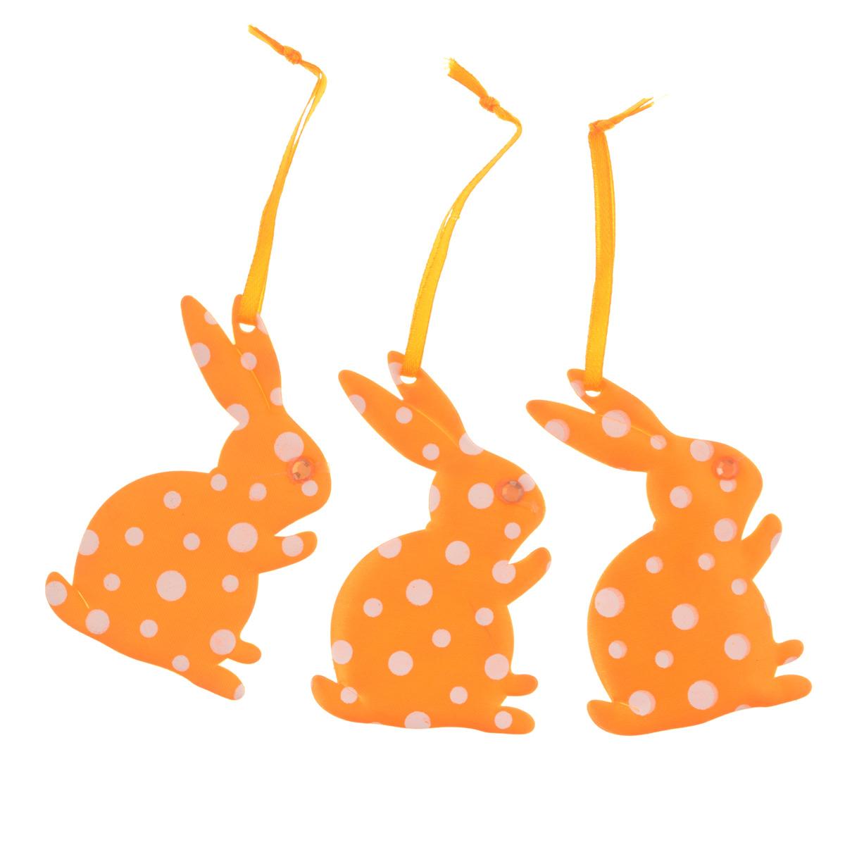 Набор пасхальных подвесных украшений Home Queen Кролики, цвет: оранжевый, 3 шт58234_4Набор Home Queen Кролики, изготовленный из полиэстера, состоит из трех пасхальных подвесных украшений. Изделия выполнены в виде кроликов с мягким наполнителем, декорированы принтом в горох и оснащены текстильными петельками для подвешивания. Такой набор прекрасно дополнит оформление вашего дома на Пасху. Размер украшения: 8 см х 5 см х 0,3 см.