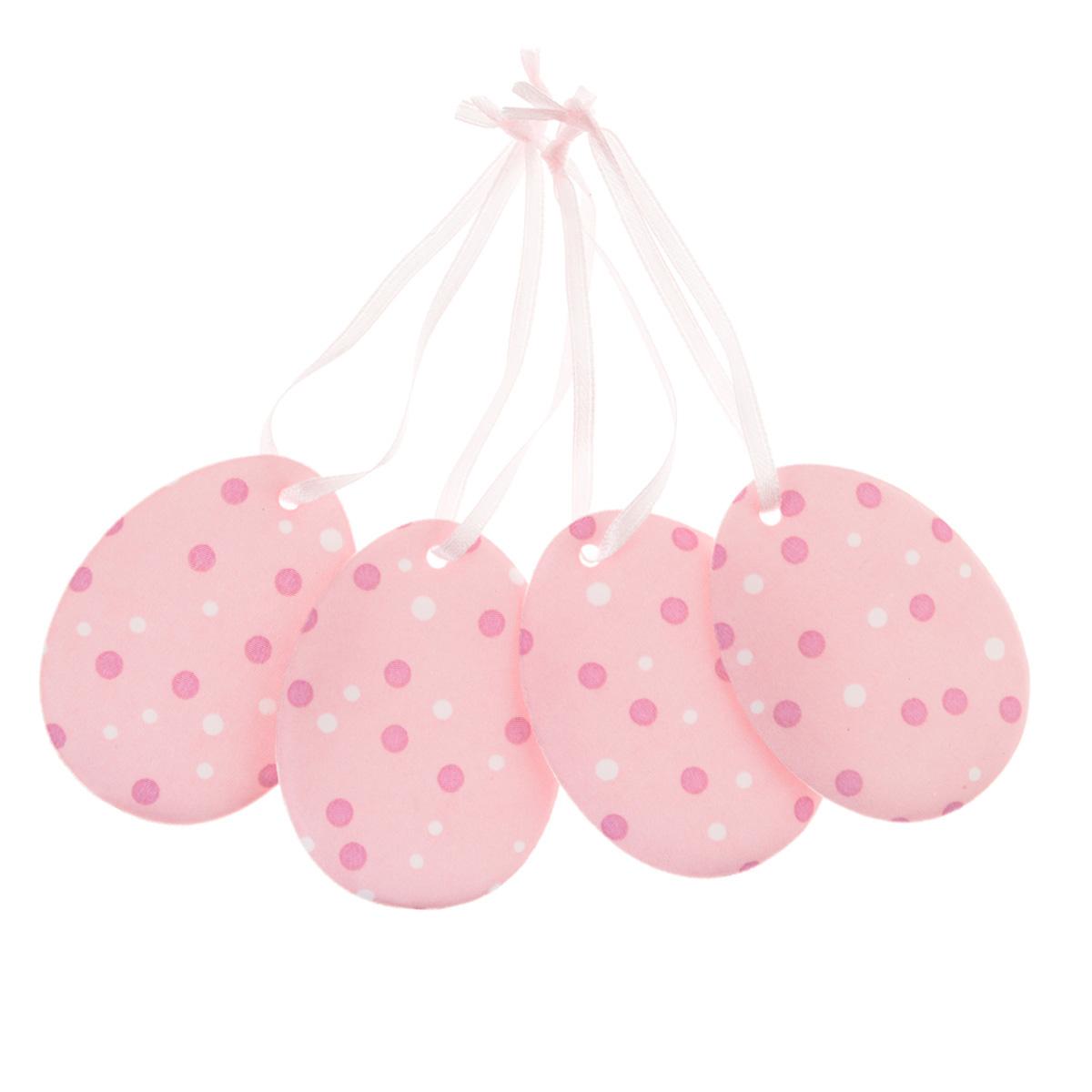Набор пасхальных подвесных украшений Home Queen Нежность, цвет: розовый, 4 шт64424_2Набор Home Queen Нежность, изготовленный из полиэстера, состоит из четырех пасхальных подвесных украшений. Изделия выполнены в виде пасхальных яиц с мягким наполнителем, декорированы принтом в горох и оснащены текстильными петельками для подвешивания. Такой набор прекрасно дополнит оформление вашего дома на Пасху. Размер украшения: 6,5 см х 5 см х 0,3 см.