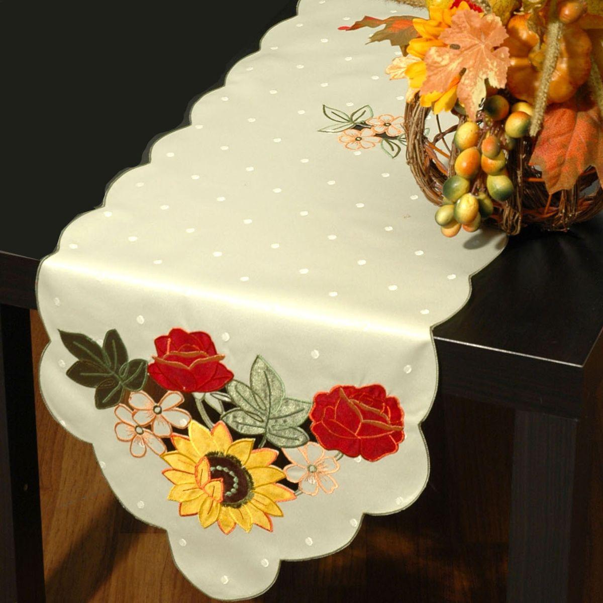 """Дорожка для декорирования стола """"Schaefer"""", прямоугольная, цвет: кремовый, 35 x 160 см 05939-264"""