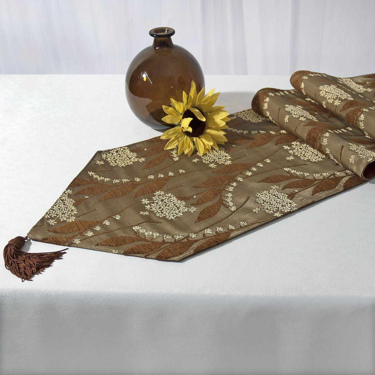 Дорожка для декорирования стола Schaefer, прямоугольная, цвет: темно-зеленый, коричневый, 30 x 170 см 06031-28706031-287Прямоугольная дорожка Schaefer, выполненная из полиэстера (30%), вискозы (35%) и полиакрила (46%), оформлена цветочным орнаментом и украшена элегантными кистями на концах. Вы можете использовать дорожку для декорирования стола, комода или журнального столика. Это изделие будет украшением вашей квартиры или загородного дома! Благодаря такой дорожке вы защитите поверхность мебели от воды, пятен и механических воздействий, а также создадите атмосферу уюта и домашнего тепла в интерьере вашей квартиры. Изделия из искусственных волокон легко стирать: они не мнутся, не садятся и быстро сохнут, они более долговечны, чем изделия из натуральных волокон.