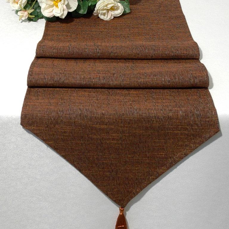 Дорожка для декорирования стола Schaefer, прямоугольная, цвет: коричневый, 40 x 160 см 06745-25406745-254Дорожка Schaefer выполнена из высококачественного полиэстера (60%) с добавлением акрила (35%) и украшена элегантными кистями на концах. Вы можете использовать дорожку для декорирования стола, комода или журнального столика. Благодаря такой дорожке вы защитите поверхность мебели от воды, пятен и механических воздействий, а также создадите атмосферу уюта и домашнего тепла в интерьере вашей квартиры. Изделия из искусственных волокон легко стирать: они не мнутся, не садятся и быстро сохнут, они более долговечны, чем изделия из натуральных волокон.