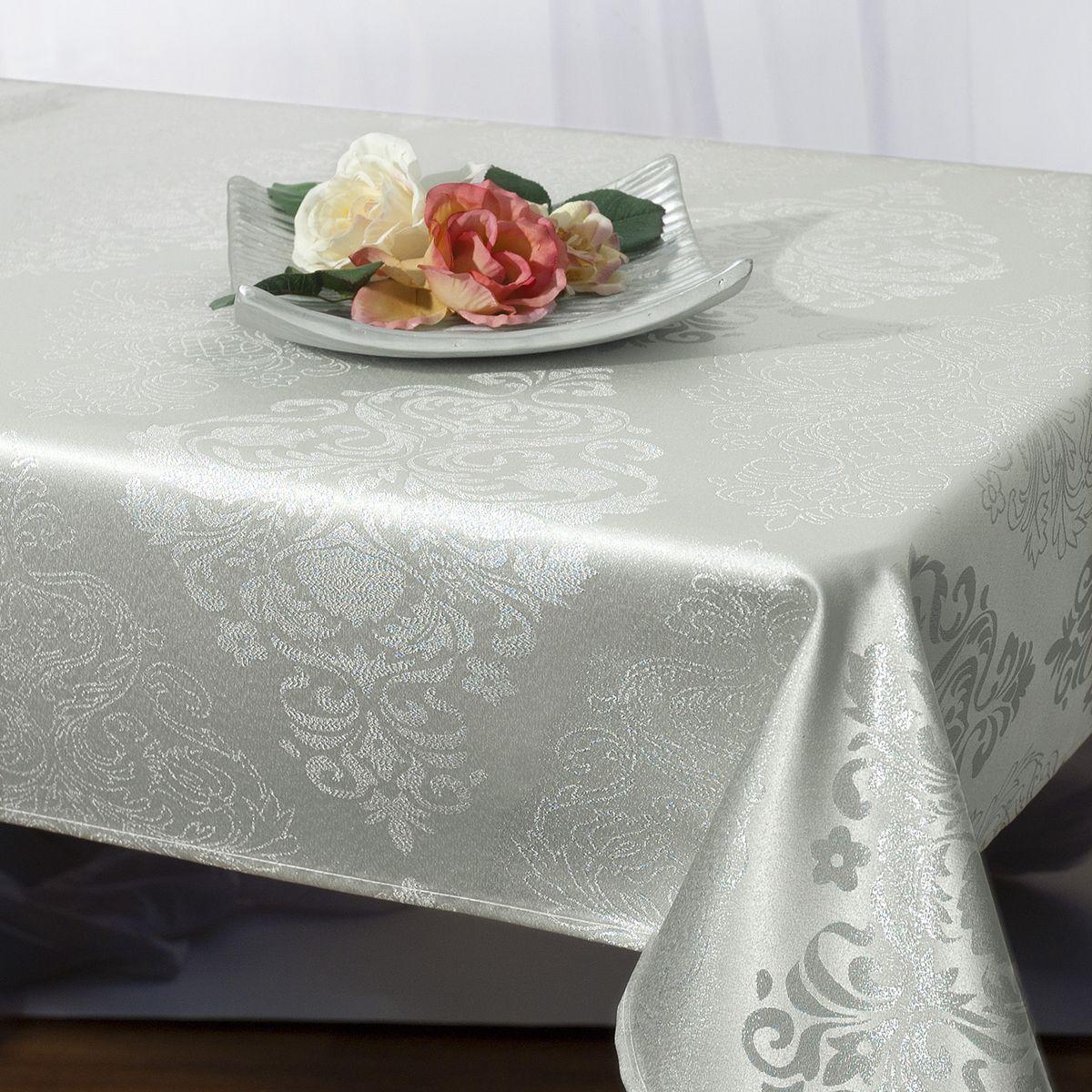 """Скатерть """"Schaefer"""", прямоугольная, цвет: серебристый, 130 x 160 см. 07465-427"""