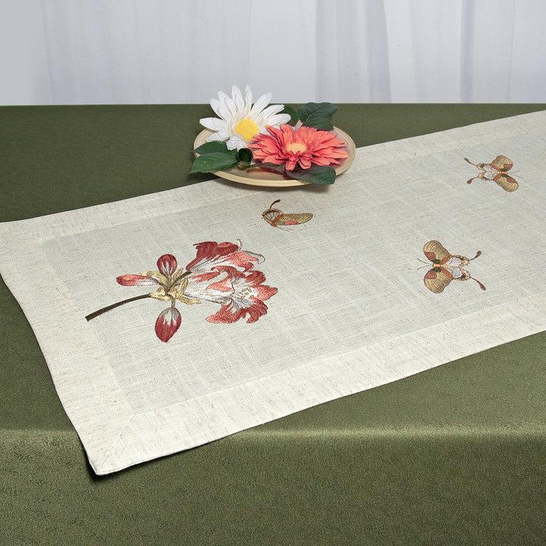 Дорожка для декорирования стола Schaefer, прямоугольная, цвет: светло-бежевый, 40 x 100 см 07529-20207529-202Прямоугольная дорожка Schaefer выполнена из высококачественного полиэстера (80%) с добавлением льна (20%) и украшена вышивкой магнолий и бабочек, шелковыми нитями. Вы можете использовать дорожку для декорирования стола, комода или журнального столика. Благодаря такой дорожке вы защитите поверхность мебели от воды, пятен и механических воздействий, а также создадите атмосферу уюта и домашнего тепла в интерьере вашей квартиры. Изделия из искусственных волокон легко стирать: они не мнутся, не садятся и быстро сохнут, они более долговечны, чем изделия из натуральных волокон.