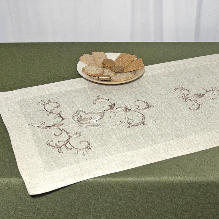 Дорожка для декорирования стола Schaefer, прямоугольная, цвет: светло-бежевый, 40 x 100 см 07530-20207530-202Прямоугольная дорожка Schaefer выполнена из высококачественного полиэстера (80%) с добавлением льна (20%) и украшена изысканной вышивкой шелковыми нитями. Вы можете использовать дорожку для декорирования стола, комода или журнального столика. Благодаря такой дорожке вы защитите поверхность мебели от воды, пятен и механических воздействий, а также создадите атмосферу уюта и домашнего тепла в интерьере вашей квартиры. Изделия из искусственных волокон легко стирать: они не мнутся, не садятся и быстро сохнут, они более долговечны, чем изделия из натуральных волокон.