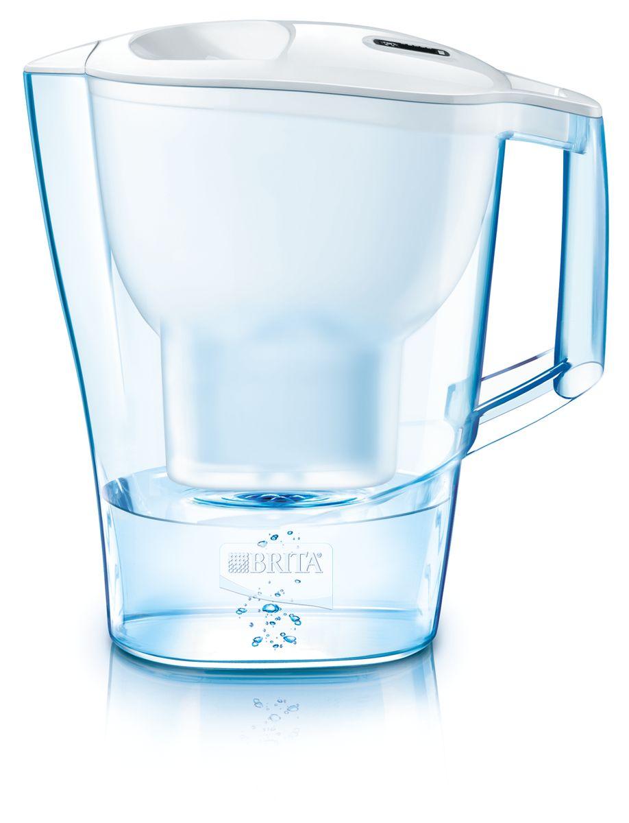 Фильтр-кувшин для воды Brita Aluna XL, цвет: белый, 3,5 л1008943Фильтр-кувшин Brita Aluna XL, выполненный из пластика, станет необходимым помощником на вашей кухне. Вода, очищенная данным фильтром обладает рядом преимуществ: - улучшает вкус горячих и холодных напитков, - увеличивает срок службы бытовых приборов, препятствуя образованию накипи, - идеальна для приготовления вкусной и здоровой пищи, - придает более насыщенный вкус и аромат чаю и кофе. Технология картриджа Maxtra снижает содержание в воде таких веществ, как хлор, алюминий, тяжелые металлы (свинец и медь), некоторые пестициды и органические примеси. Также он отфильтровывает соли жесткости. Особенности данного фильтра: - только для Maxtra, - благодаря удобной функции (одним нажатием кнопки) заменить картридж очень просто, - календарь: механический индикатор ресурса кассеты будет автоматически напоминать вам о необходимости заменить кассету через каждые 4 недели использования, - эргономичный дизайн, ...