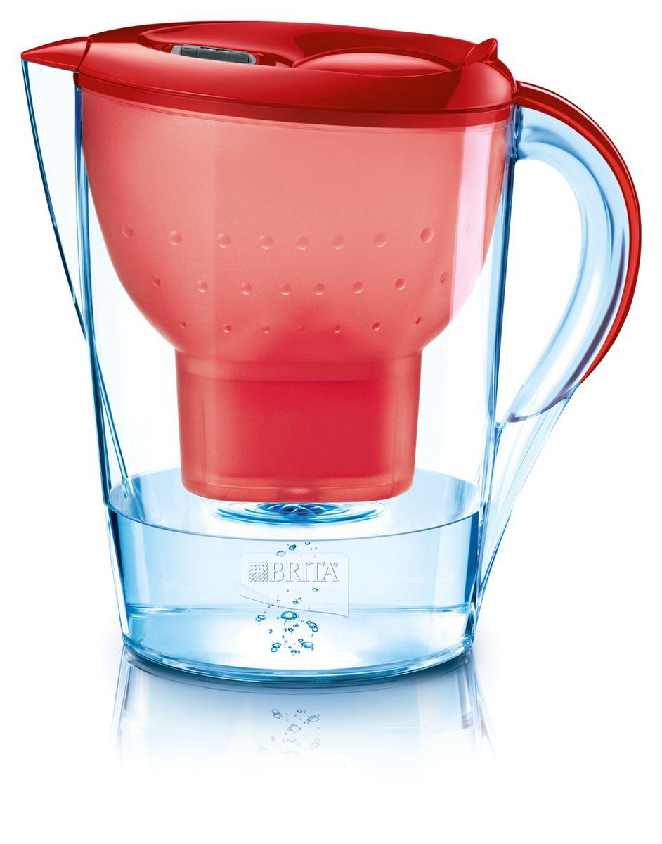 Фильтр-кувшин для воды Brita Marella XL, цвет: красный, 3,5 л102068Фильтр-кувшин Brita Marella XL, выполненный из пластика, станет необходимым помощником на вашей кухне. Вода, очищенная данным фильтром обладает рядом преимуществ: - улучшает вкус горячих и холодных напитков, - увеличивает срок службы бытовых приборов, препятствуя образованию накипи, - идеальна для приготовления вкусной и здоровой пищи, - придает более насыщенный вкус и аромат чаю и кофе. Технология картриджа Maxtra снижает содержание в воде таких веществ, как хлор, алюминий, тяжелые металлы (свинец и медь), некоторые пестициды и органические примеси. Также он отфильтровывает соли жесткости. Особенности данного фильтра: - только для Maxtra, - благодаря удобной функции (одним нажатием кнопки) заменить картридж очень просто, - откидная крышка в отверстии для заливки воды, - календарь: механический индикатор ресурса кассеты будет автоматически напоминать вам о необходимости заменить кассету через каждые 4...