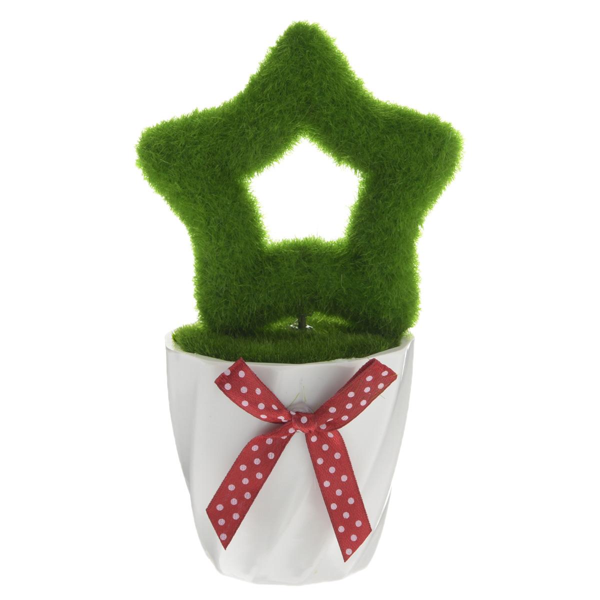 Декоративное украшение Феникс-презент Звезда, высота 15 см37560Декоративное украшение Феникс-презент Звезда, изготовленное из ПВХ и пенопласта дополнит интерьер любого помещения, а также может стать оригинальным подарком для ваших друзей и близких. Композиция выполнена в виде деревца с кроной в форме звезды. Деревце располагается в небольшом горшочке. Оформление помещения декоративным деревом создаст праздничную, по-настоящему радостную и теплую атмосферу в доме. Размер кроны дерева: 8 см х 8 см х 2 см.