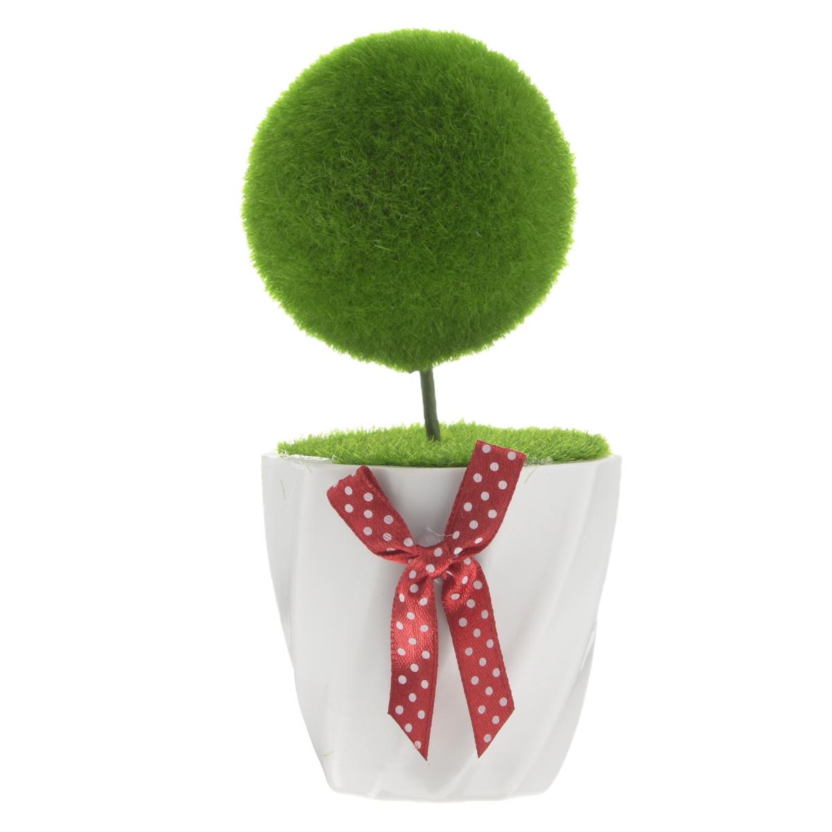 Декоративное украшение Феникс-презент Шарик, высота 14 см37563Декоративное украшение Феникс-презент Шарик, изготовленное из ПВХ и пенопласта дополнит интерьер любого помещения, а также может стать оригинальным подарком для ваших друзей и близких. Композиция выполнена в виде деревца с кроной в форме шара. Деревце располагается в небольшом горшочке. Оформление помещения декоративным деревом создаст праздничную, по-настоящему радостную и теплую атмосферу в доме. Диаметр кроны дерева: 6 см.