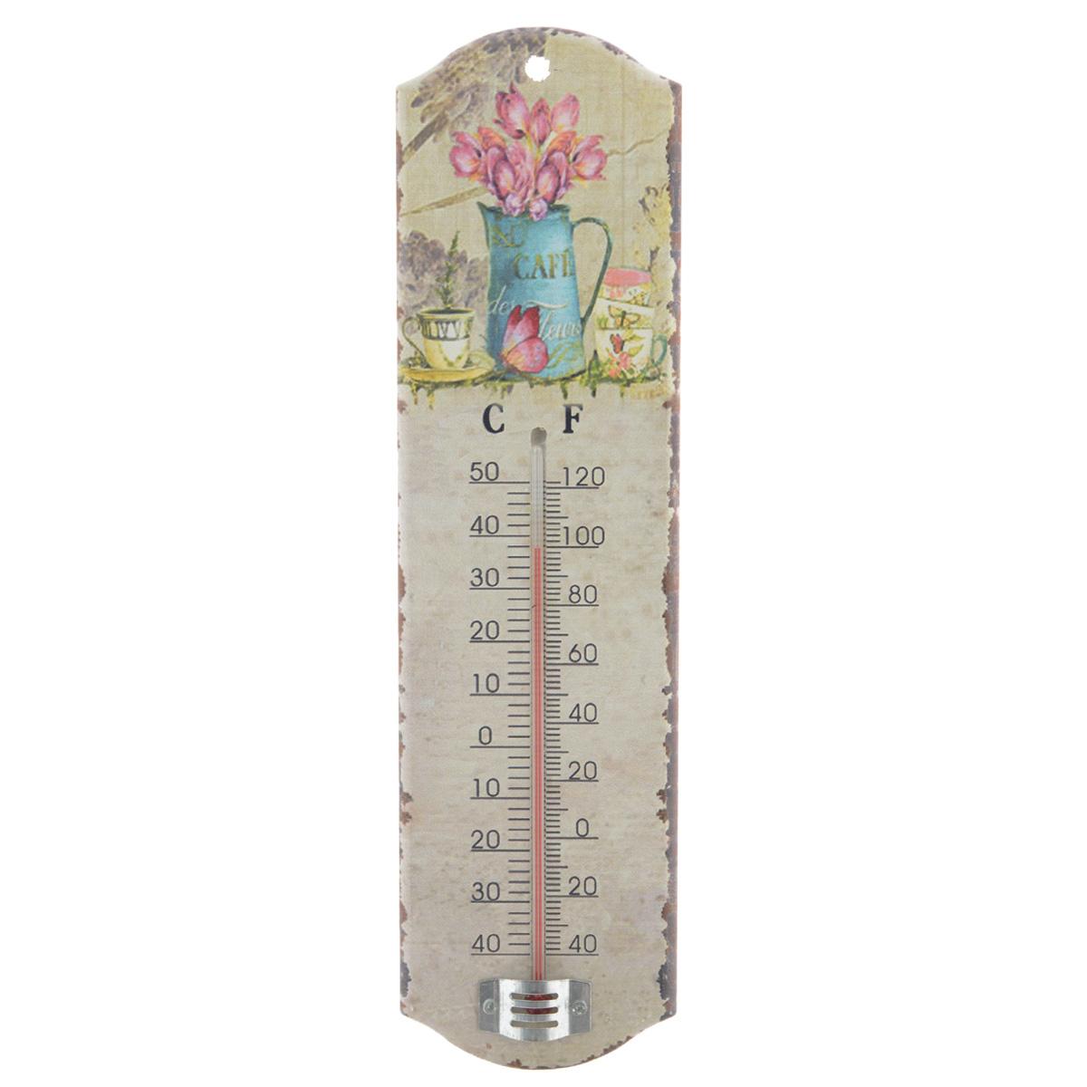 Термометр декоративный Феникс-презент, комнатный. 3374033740Комнатный термометр Феникс-презент, изготовленный из МДФ и стекла, декорирован изображением цветов. Термометр имеет шкалу измерения температуры по Цельсию (-40°С - +50°С) и по Фаренгейту (-40°F - +120°F). Благодаря такому термометру вы всегда будете точно знать, насколько тепло в помещении. Изделие оснащено специальным отверстием для подвешивания. Оригинальный дизайн не оставит равнодушным никого. Термометр удачно впишется в обстановку жилого помещения, гаража или беседки. Кроме того, это актуальный подарок для человека с хорошим вкусом. Высота градусника: 14,5 см.
