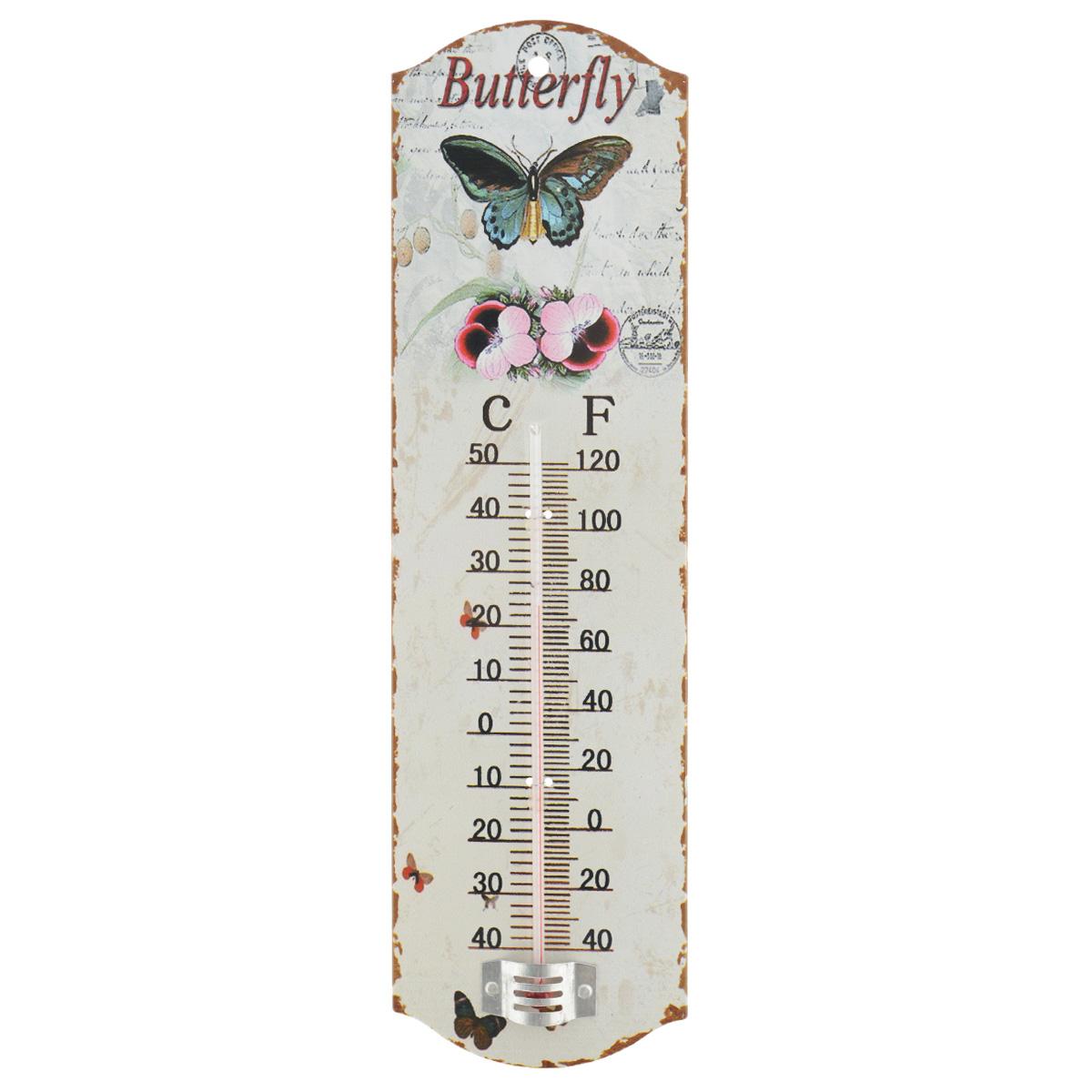 Термометр декоративный Феникс-презент, комнатный. 3374433744Комнатный термометр Феникс-презент, изготовленный из металла и стекла, декорирован изображением бабочки и цветов. Термометр имеет шкалу измерения температуры по Цельсию (-40°С - +50°С) и по Фаренгейту (-40°F - +120°F). Благодаря такому термометру вы всегда будете точно знать, насколько тепло в помещении. Изделие оснащено специальным отверстием для подвешивания. Оригинальный дизайн не оставит равнодушным никого. Термометр удачно впишется в обстановку жилого помещения, гаража или беседки. Кроме того, это актуальный подарок для человека с хорошим вкусом. Высота градусника: 14,5 см.