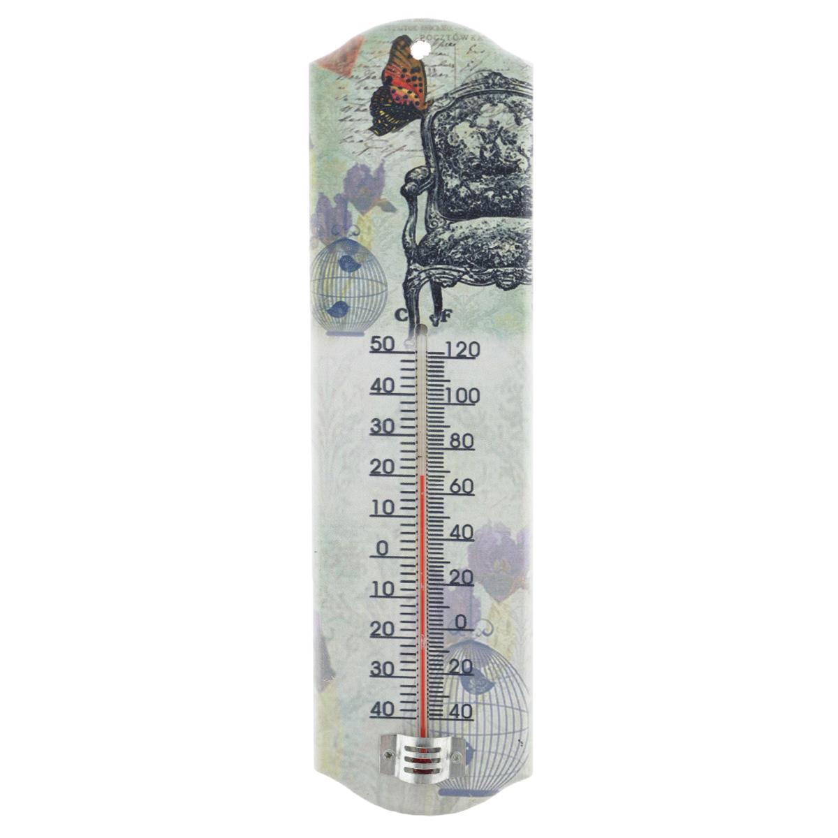 Термометр декоративный Феникс-презент, комнатный. 3373833738Комнатный термометр Феникс-презент, изготовленный из МДФ и стекла, декорирован изображением винтажного кресла и бабочки. Термометр имеет шкалу измерения температуры по Цельсию (-40°С - +50°С) и по Фаренгейту (-40°F - +120°F). Благодаря такому термометру вы всегда будете точно знать, насколько тепло в помещении. Изделие оснащено специальным отверстием для подвешивания. Оригинальный дизайн не оставит равнодушным никого. Термометр удачно впишется в обстановку жилого помещения, гаража или беседки. Кроме того, это актуальный подарок для человека с хорошим вкусом. Высота градусника: 14,5 см.