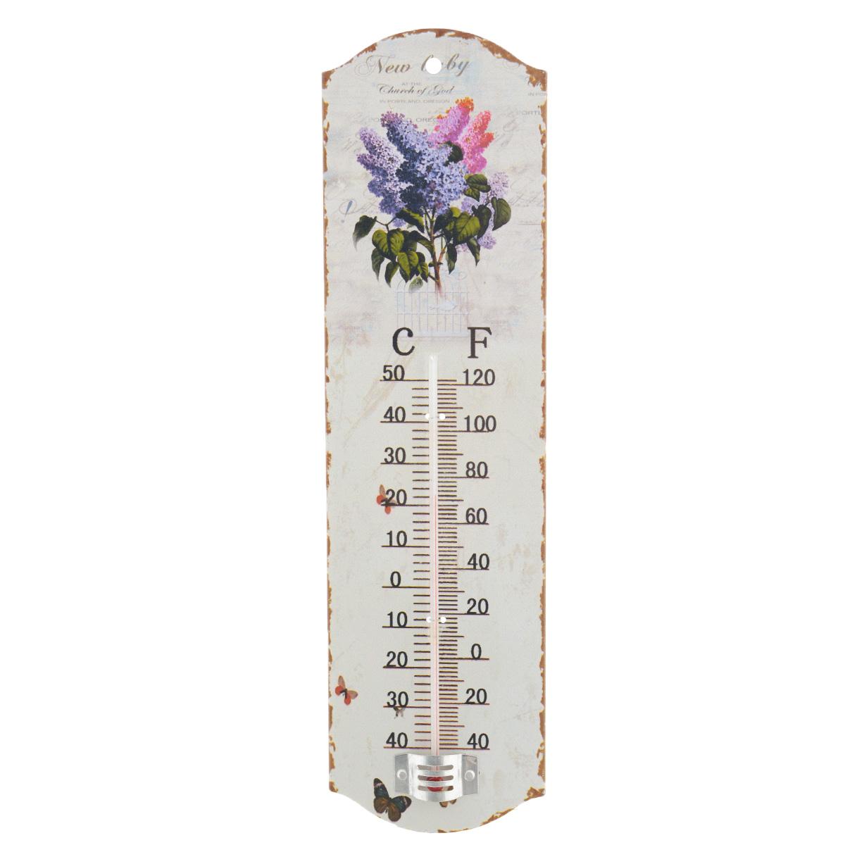 Термометр декоративный Феникс-презент, комнатный. 3374633746Комнатный термометр Феникс-презент, изготовленный из металла и стекла, декорирован изображением веток сирени. Термометр имеет шкалу измерения температуры по Цельсию (-40°С - +50°С) и по Фаренгейту (-40°F - +120°F). Благодаря такому термометру вы всегда будете точно знать, насколько тепло в помещении. Изделие оснащено специальным отверстием для подвешивания. Оригинальный дизайн не оставит равнодушным никого. Термометр удачно впишется в обстановку жилого помещения, гаража или беседки. Кроме того, это актуальный подарок для человека с хорошим вкусом. Высота градусника: 14,5 см.
